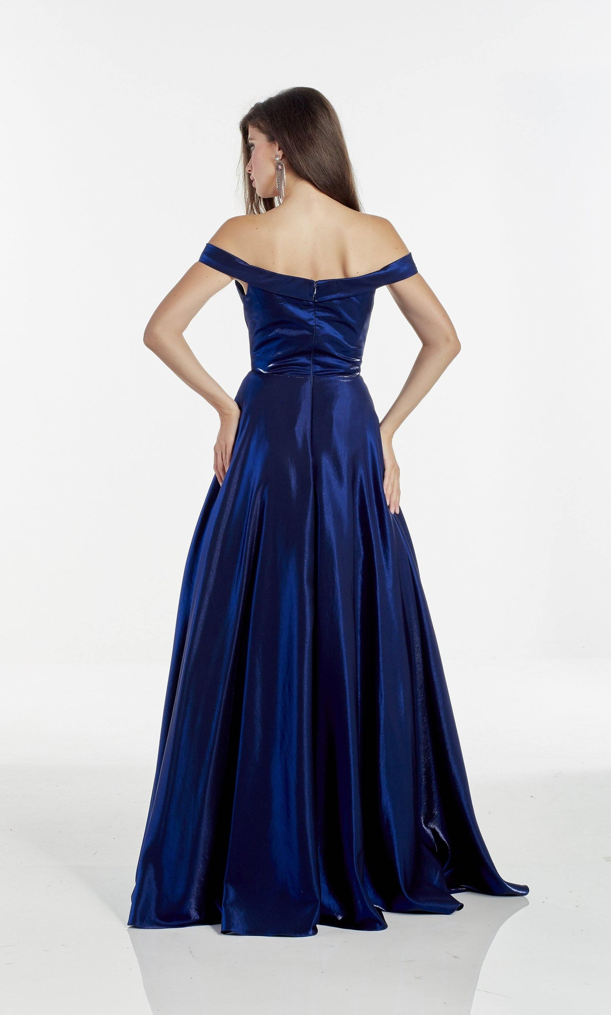 Navy off the shoulder shimmer satin prom dress with an enclosed back and train