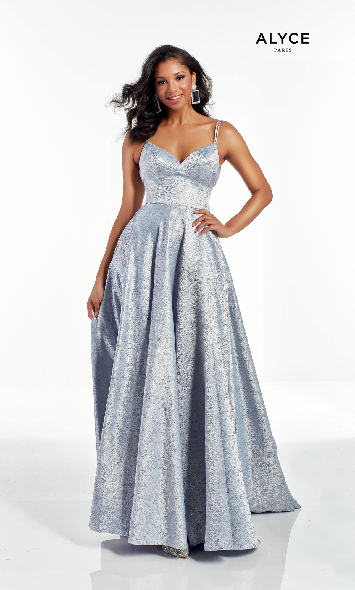 Light Blue metallic jacquard formal dress with a V shaped neckline