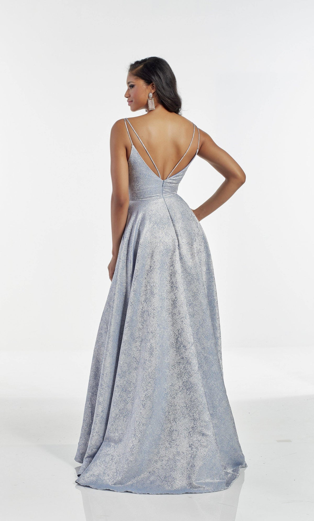 Light Blue metallic jacquard formal dress with a V shaped back and train