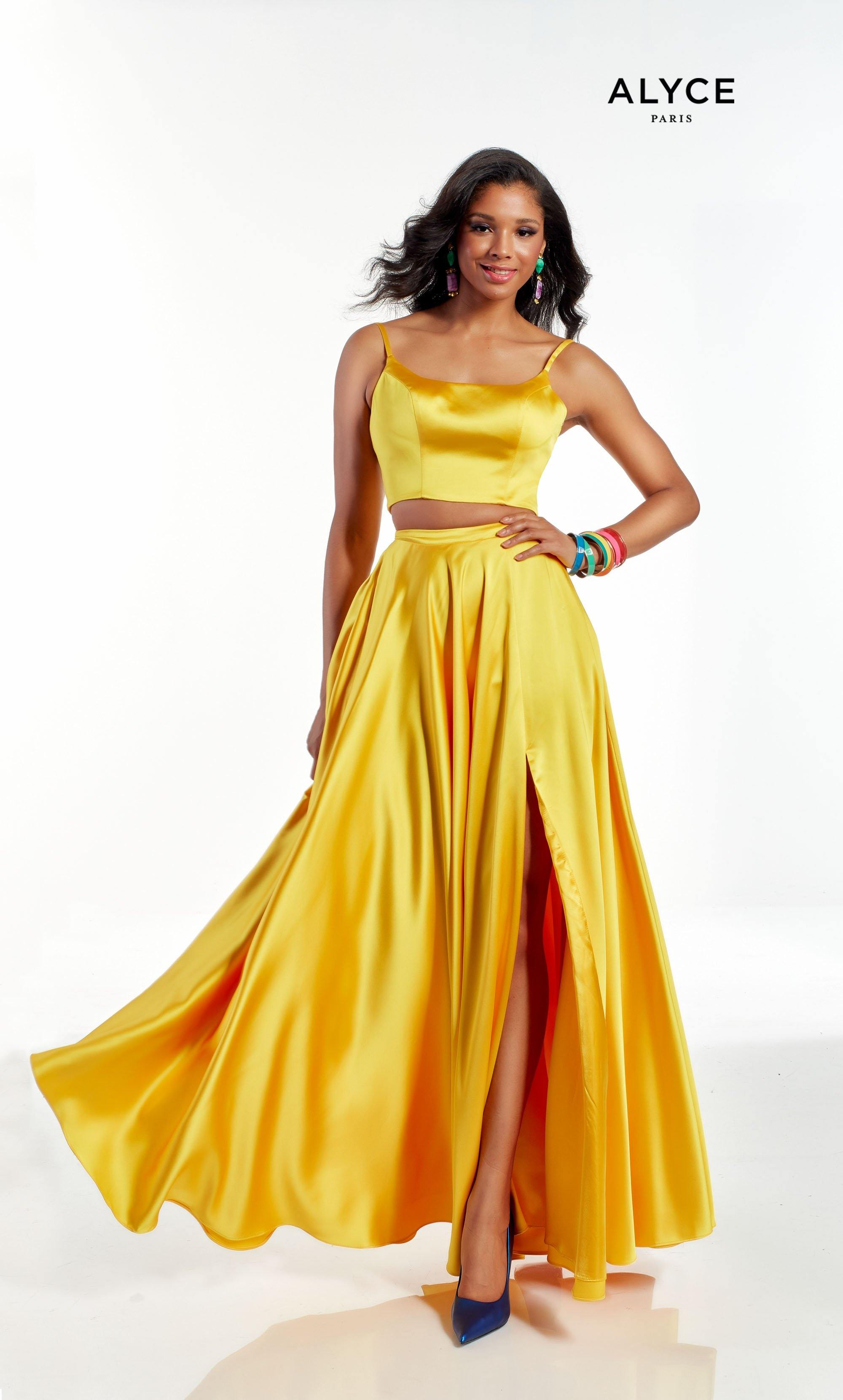 Bright Yellow two piece formal dress with scoop neckline and front slit