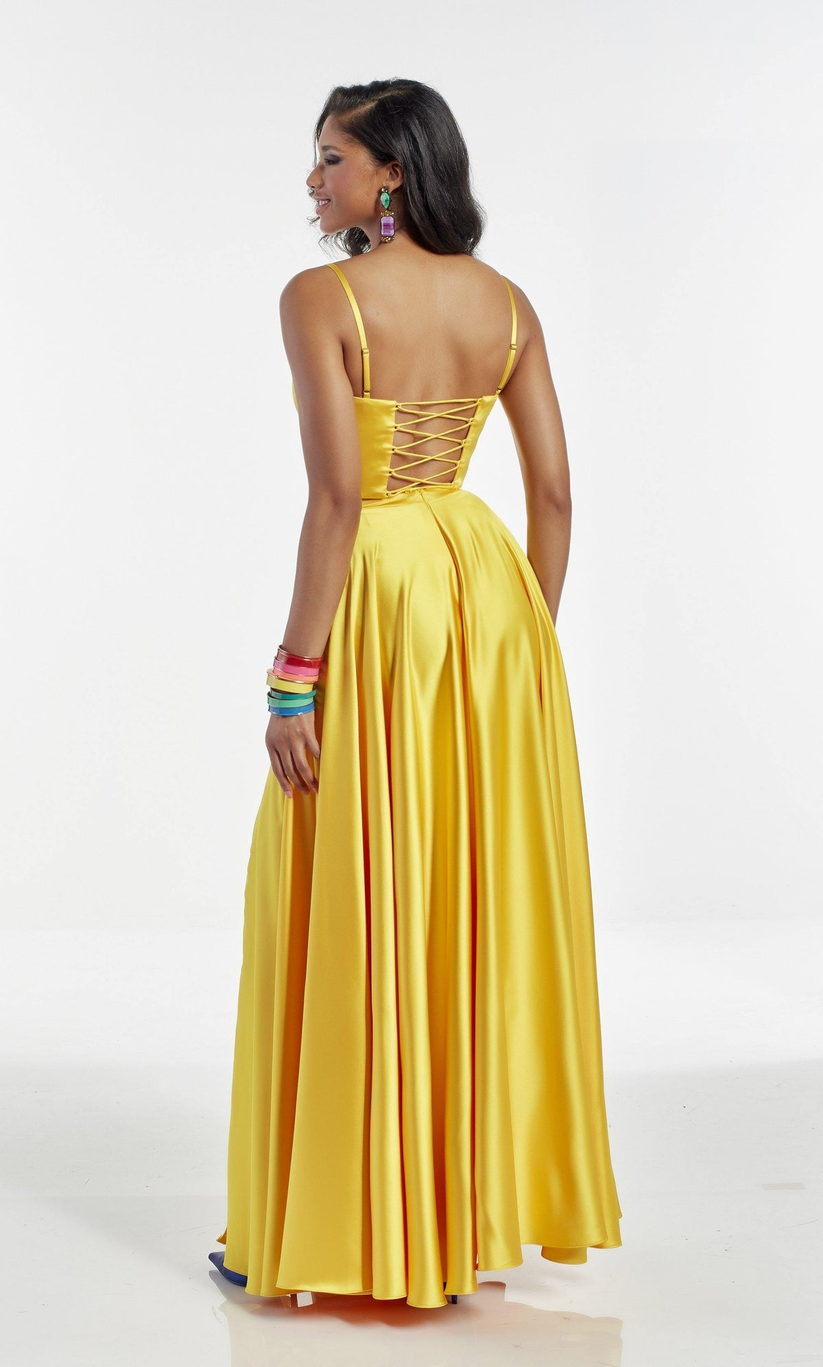 Bright Yellow two piece formal dress with a lace up back and adjustable straps