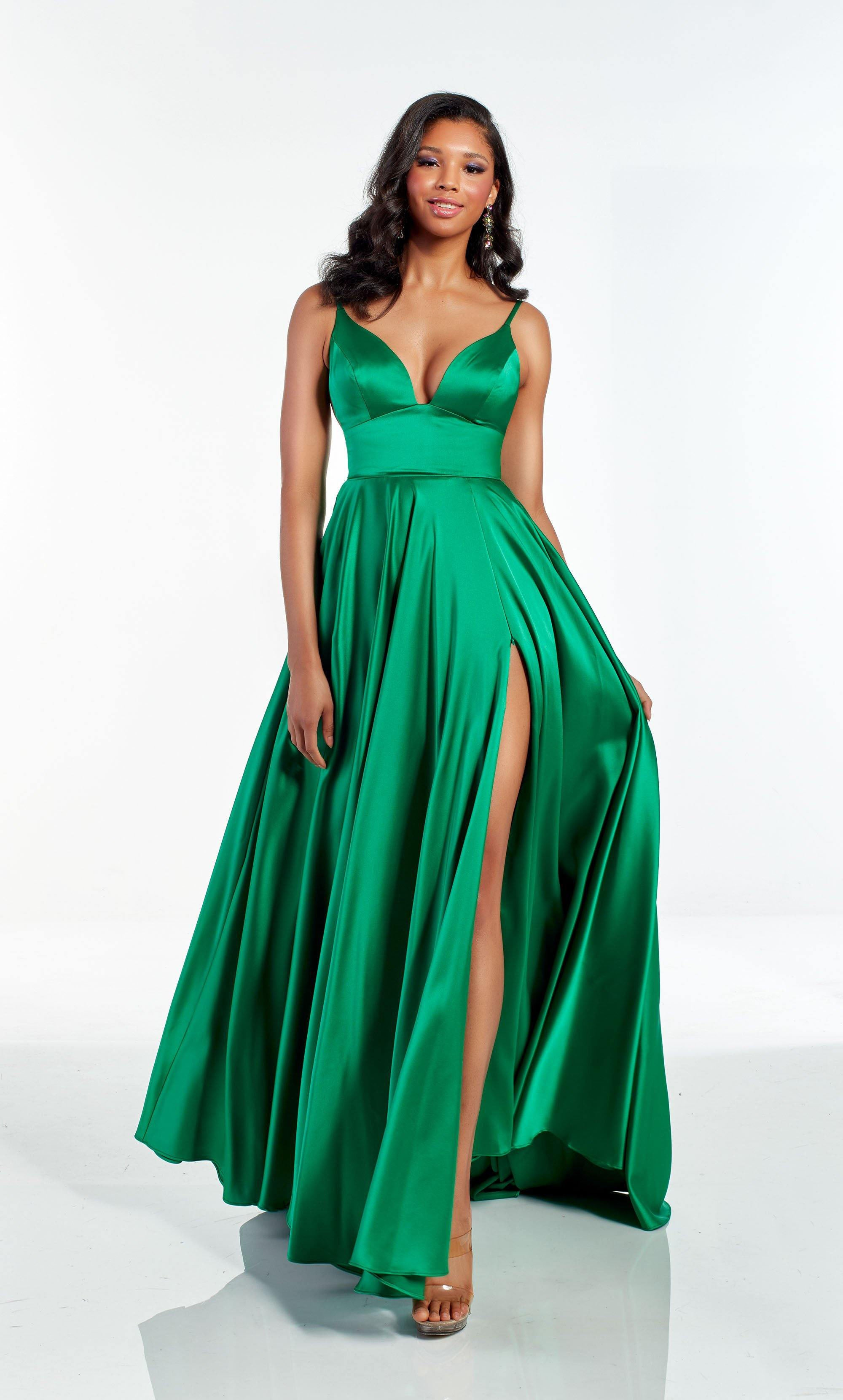 Emerald Green flowy luminous satin formal dress with a V shaped neckline and front slit