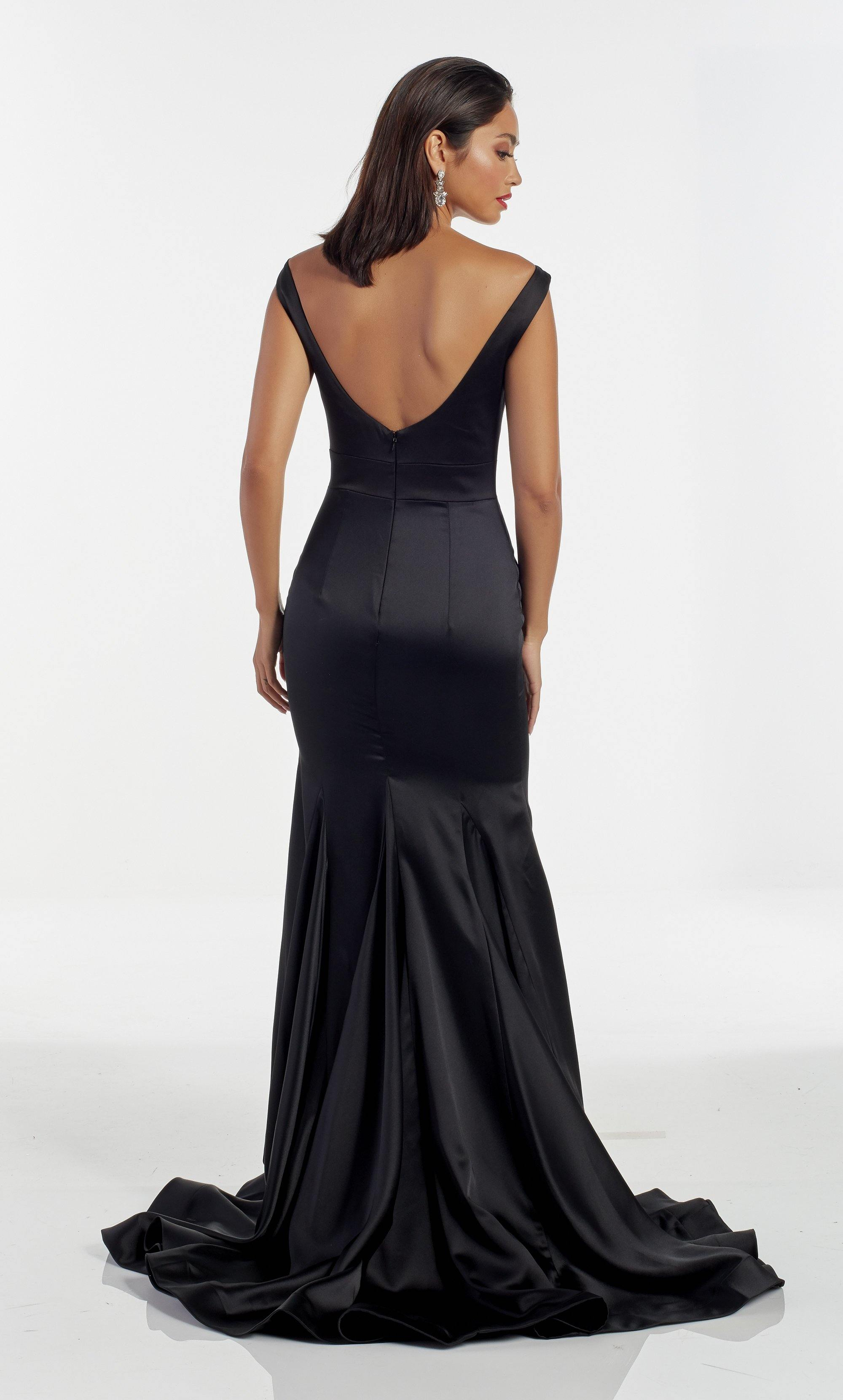 Sexy Black satin red carpet dress with a bateau neckline and beaded waist detail