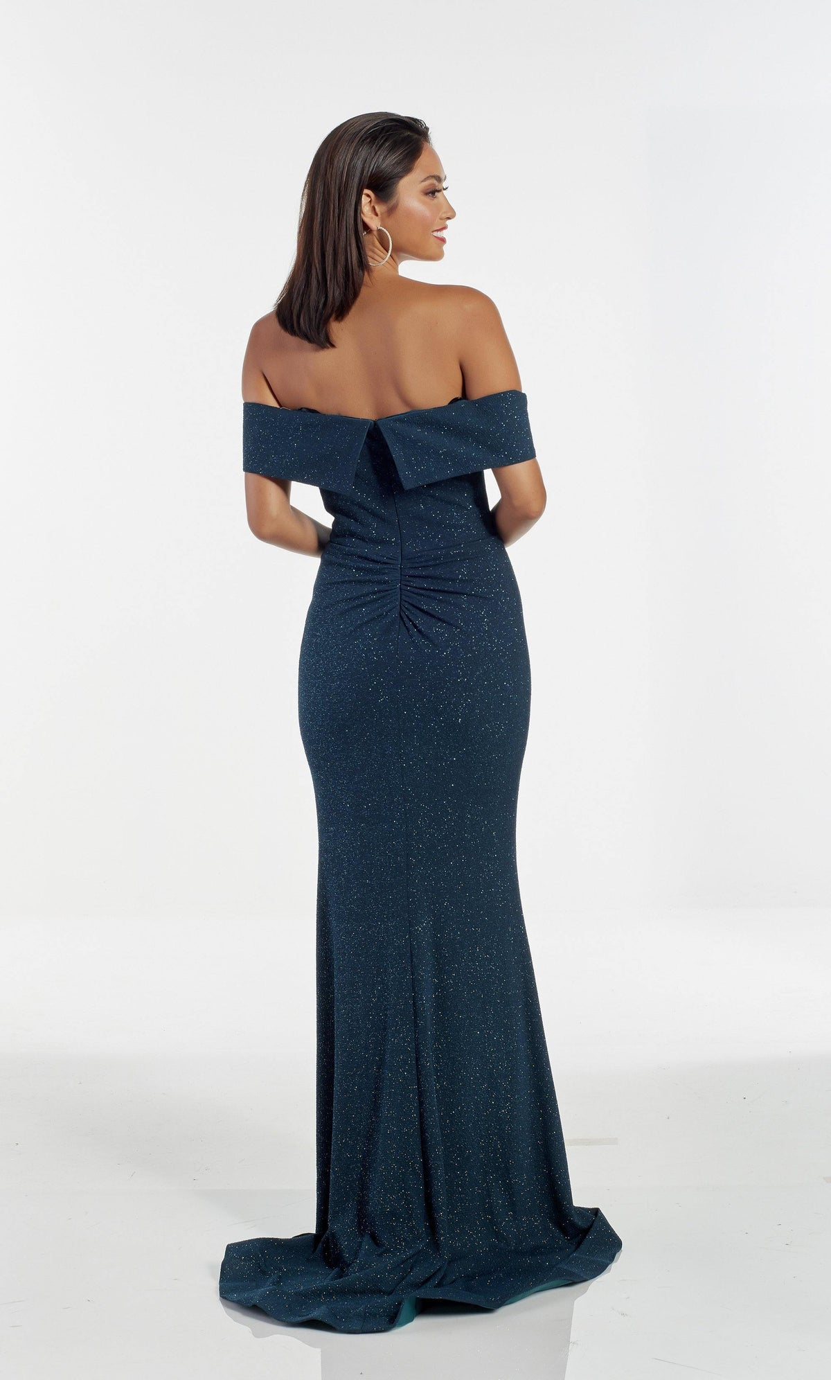 Peacock glitter jersey off the shoulder evening dress with a ruched back and train