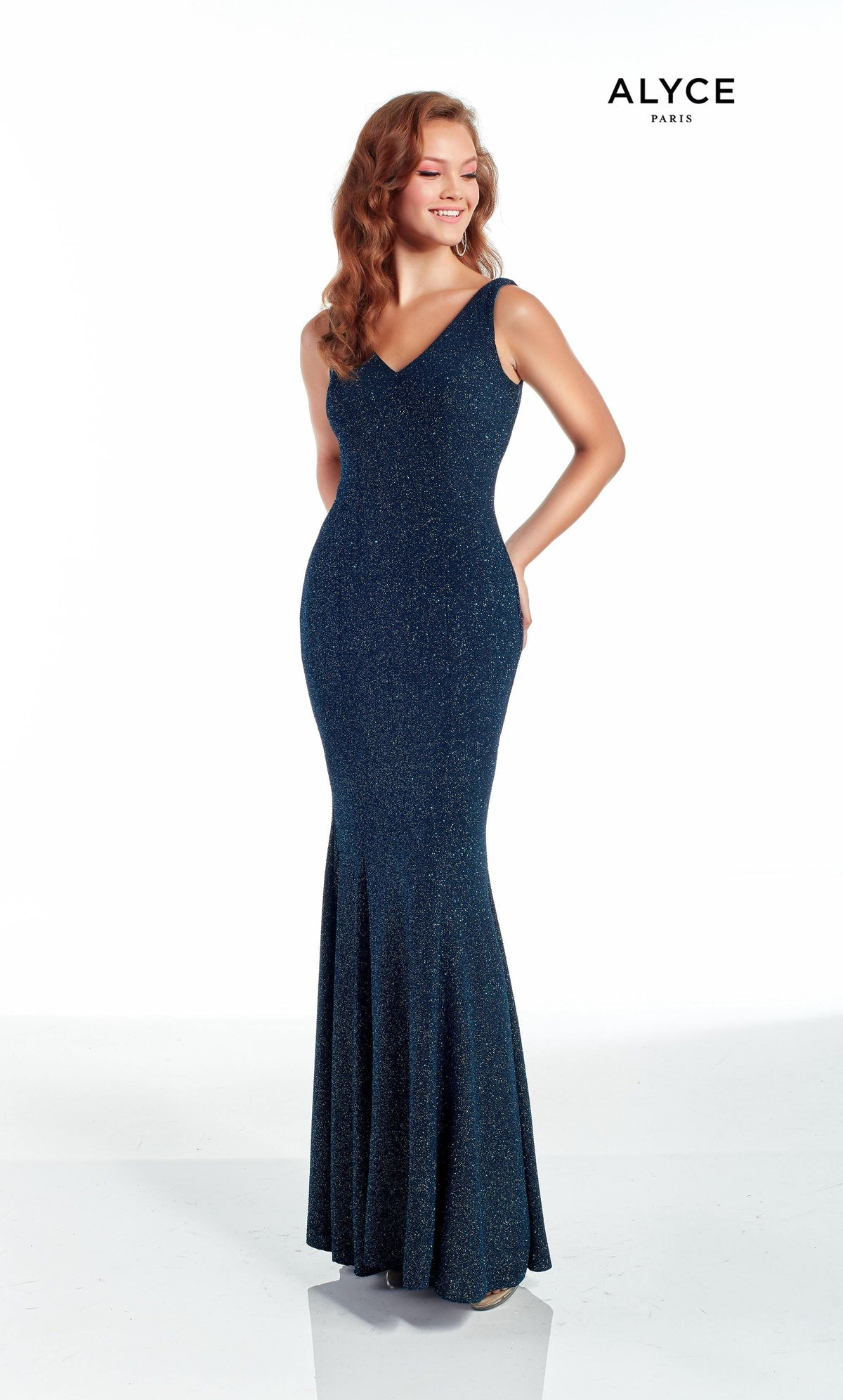 Blue Opal glitter jersey evening dress with a V neckline