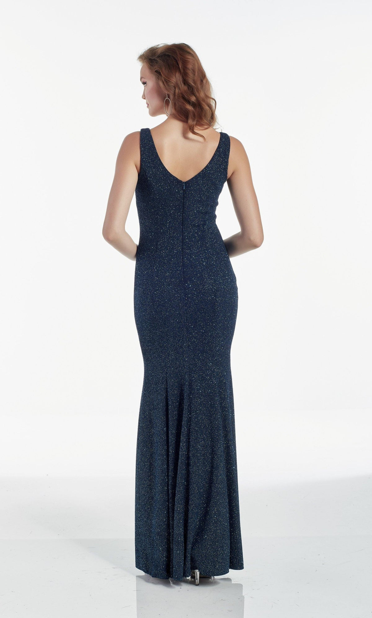 Blue Opal glitter jersey evening dress with a V shaped back