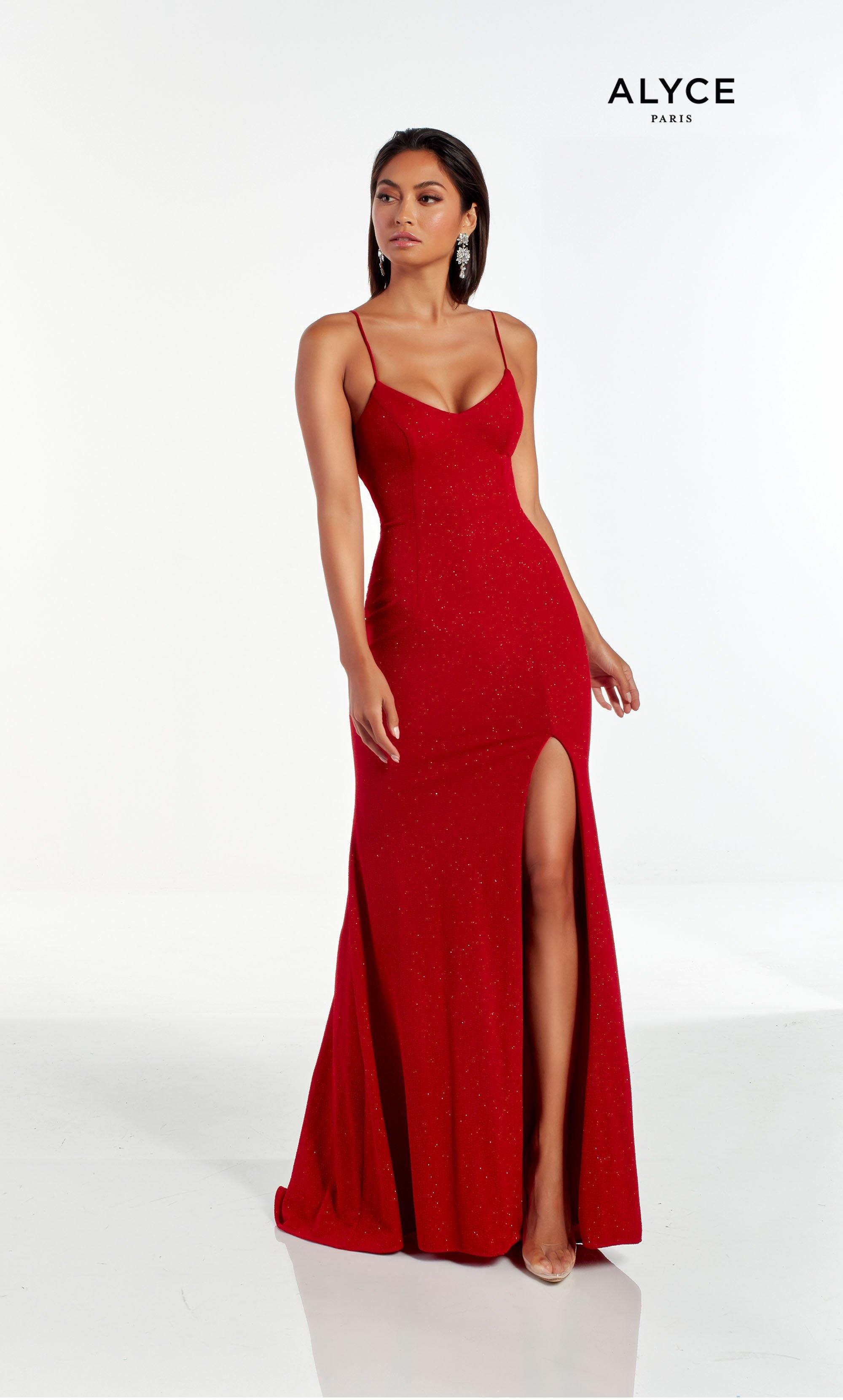 Sexy Red glitter jersey guest of wedding dress with a V neckline and front slit