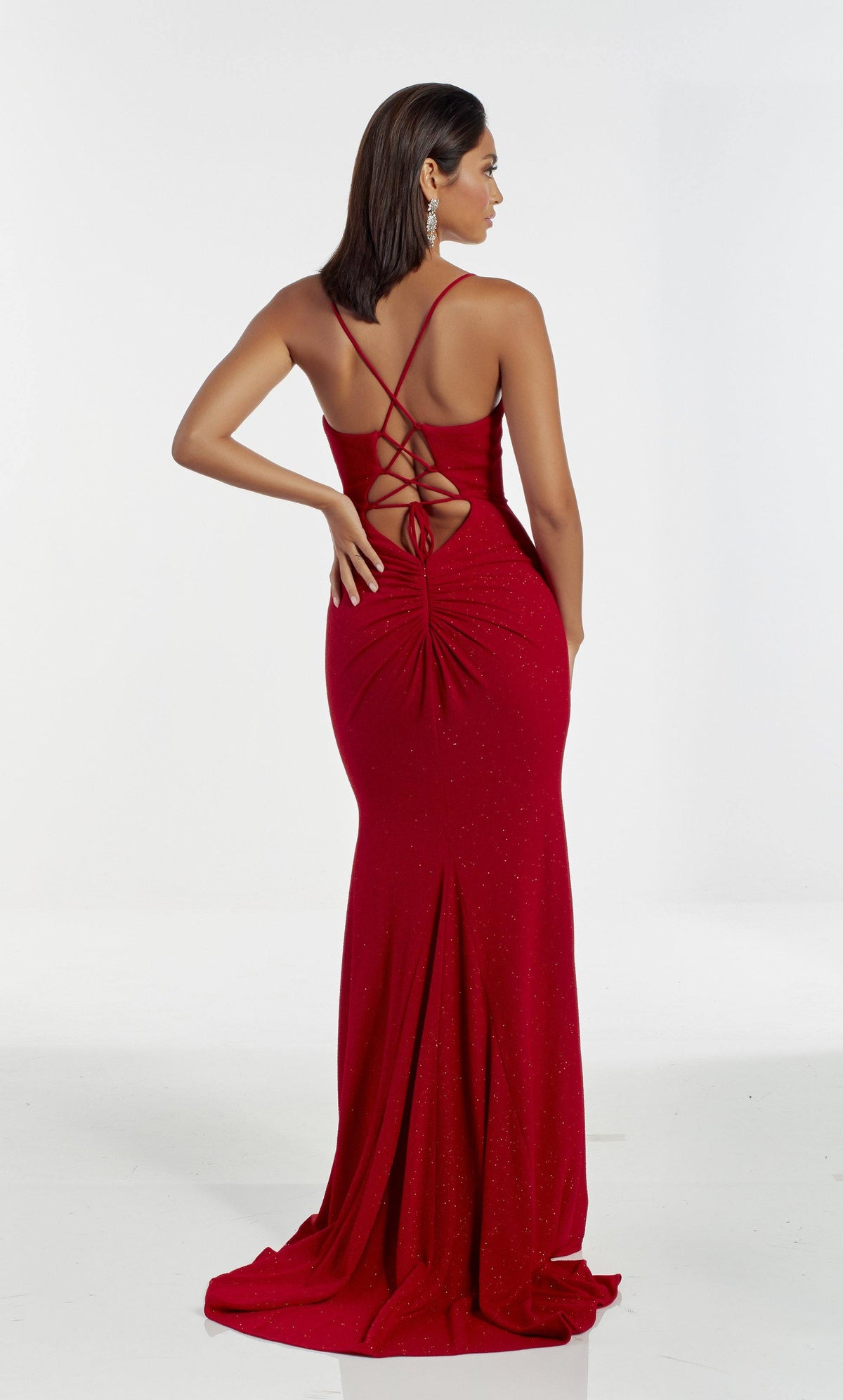 Sexy Red glitter jersey guest of wedding dress with a lace up back, gathered fabric detail, and train