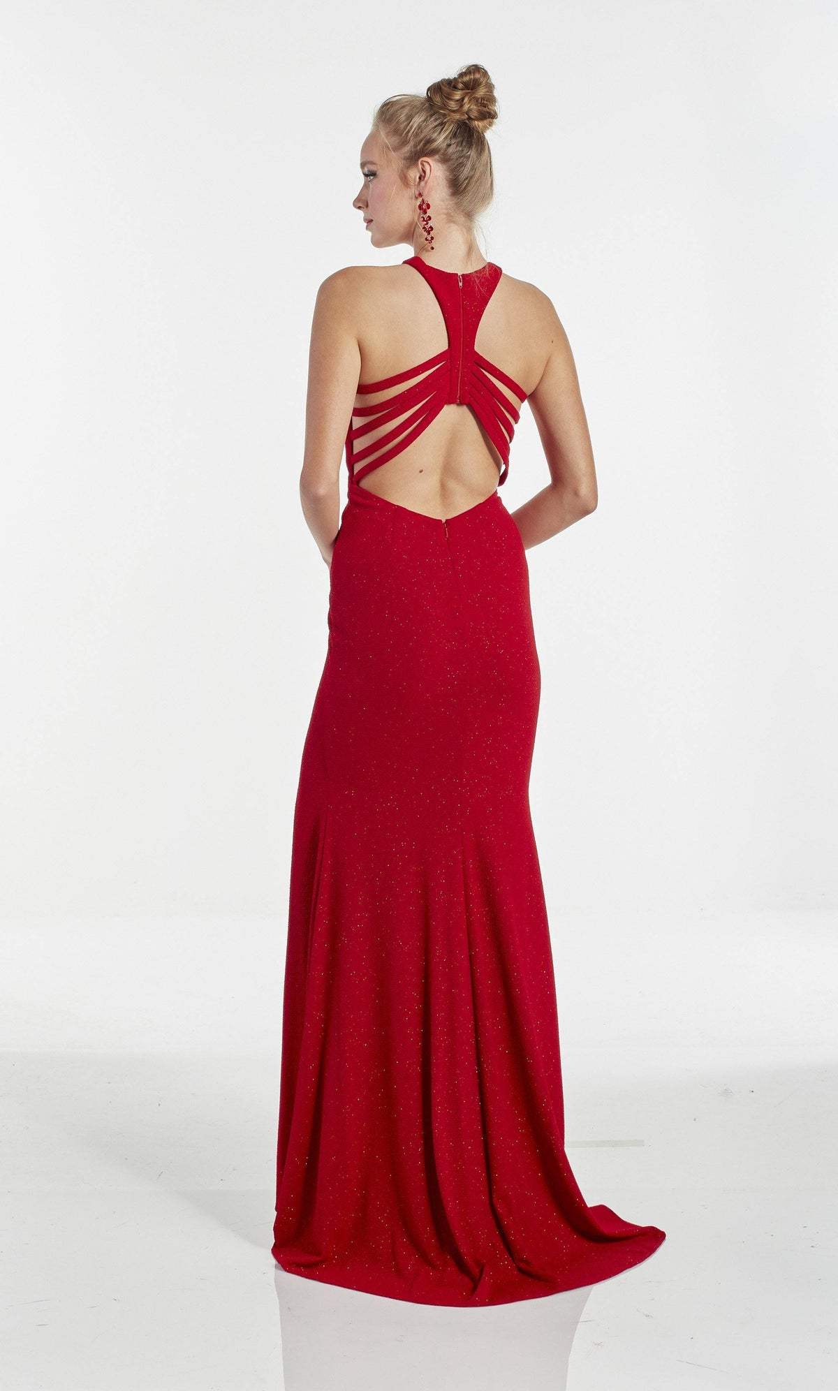 Red glitter jersey halter prom dress with a racerback and train