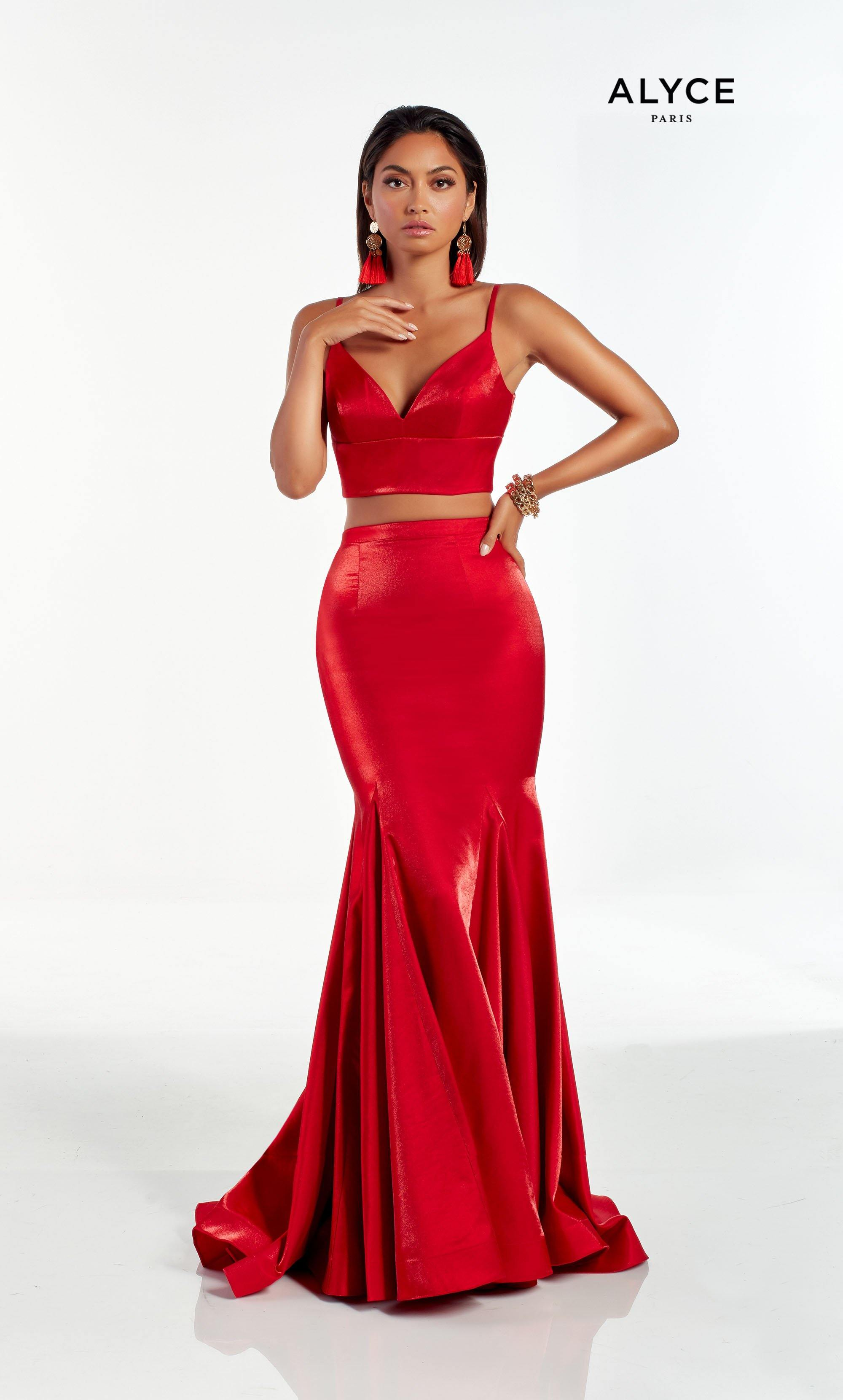 Red shimmer satin two piece formal dress with a V neckline