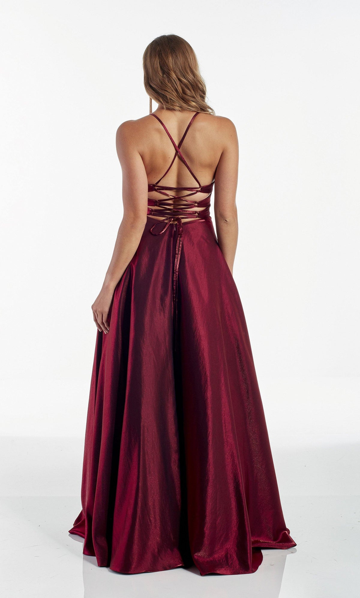 Dark Red ballgown with a strappy back