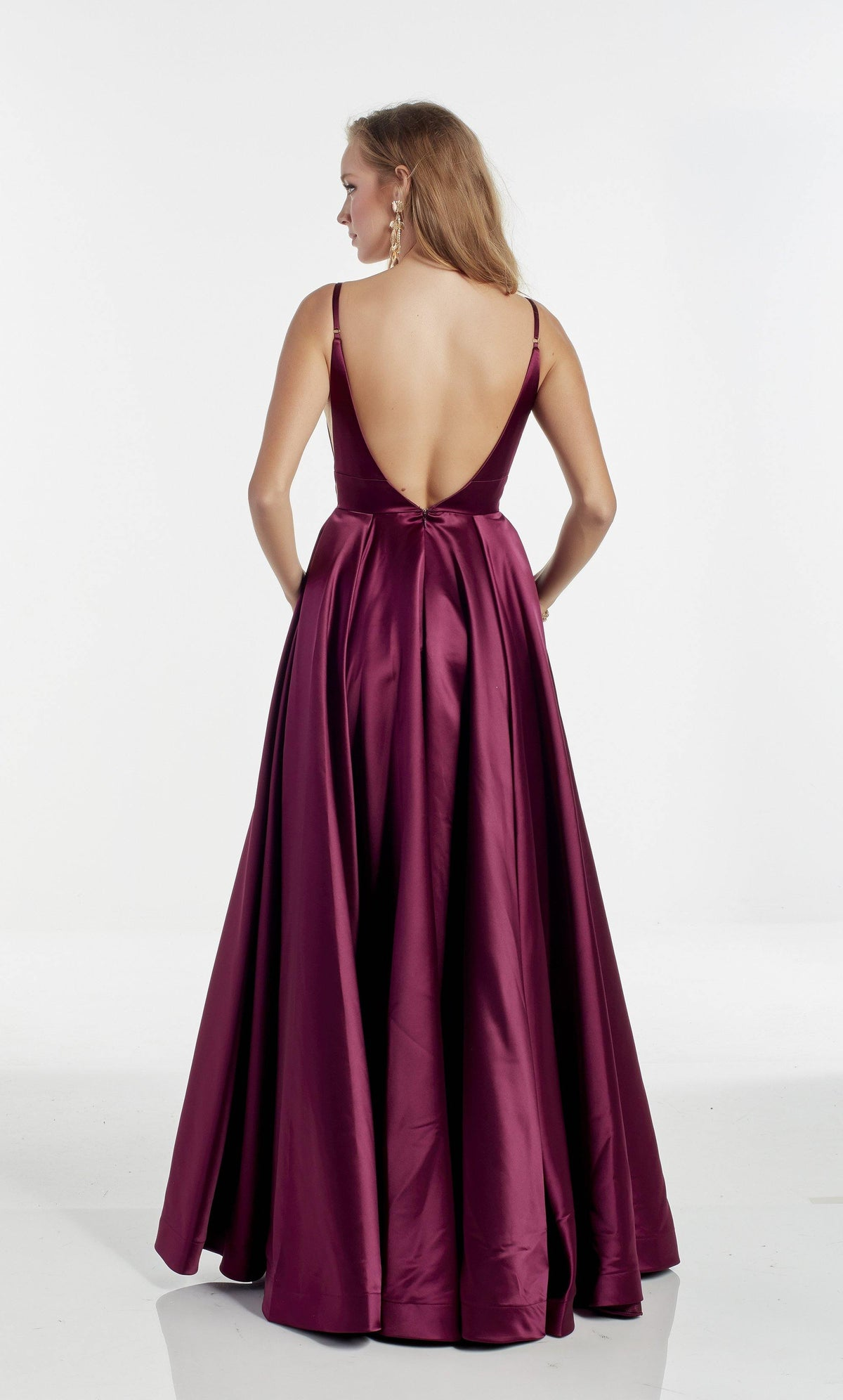 Black Cherry A line Bridesmaid dress with a V-shaped back and pockets