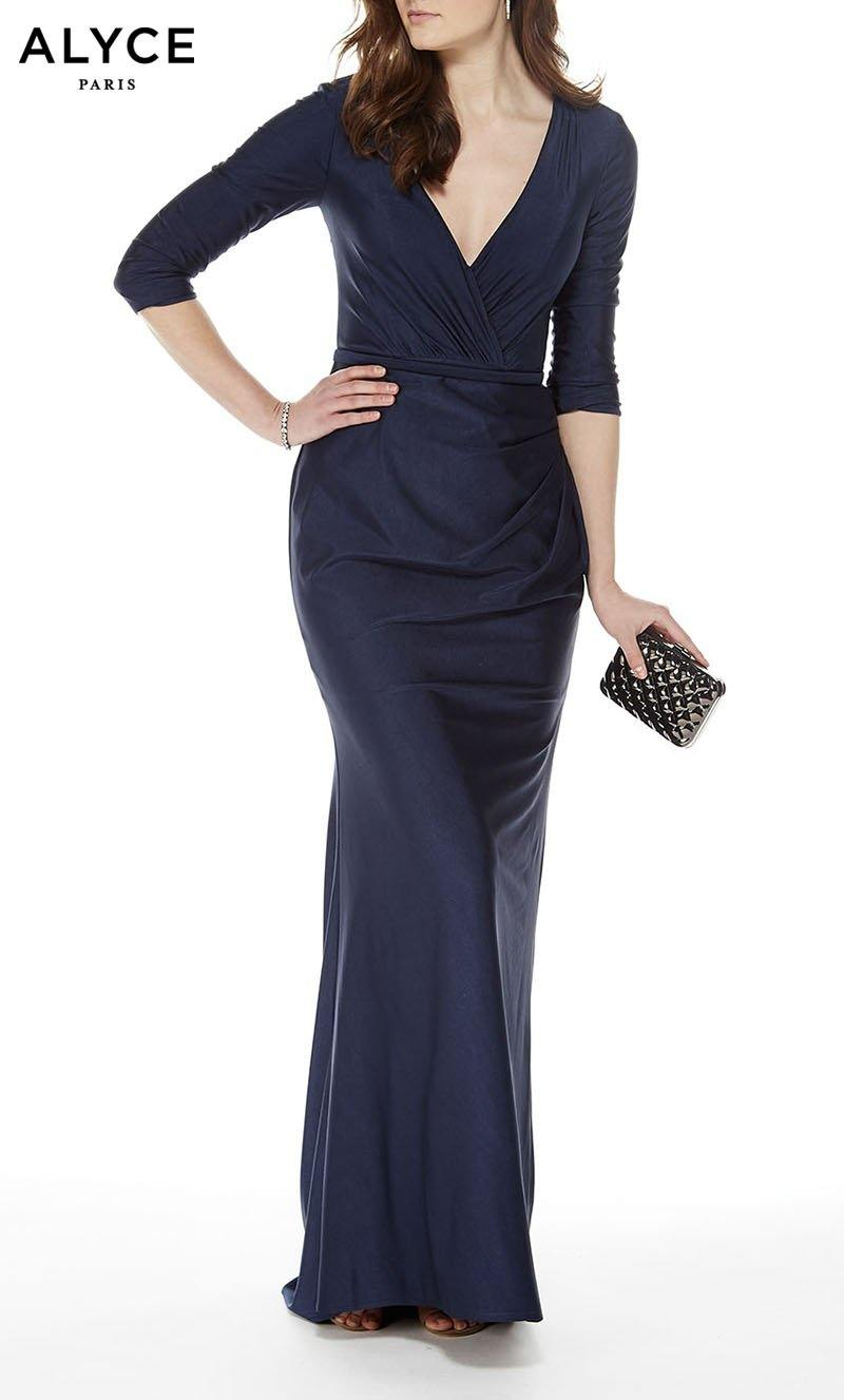 Formal Dress: 27015. Long, V-Neck, Straight, Enclosed Back Formal Wear, Long, Slinky Stretch, V-Neck, Straight, Enclosed Back