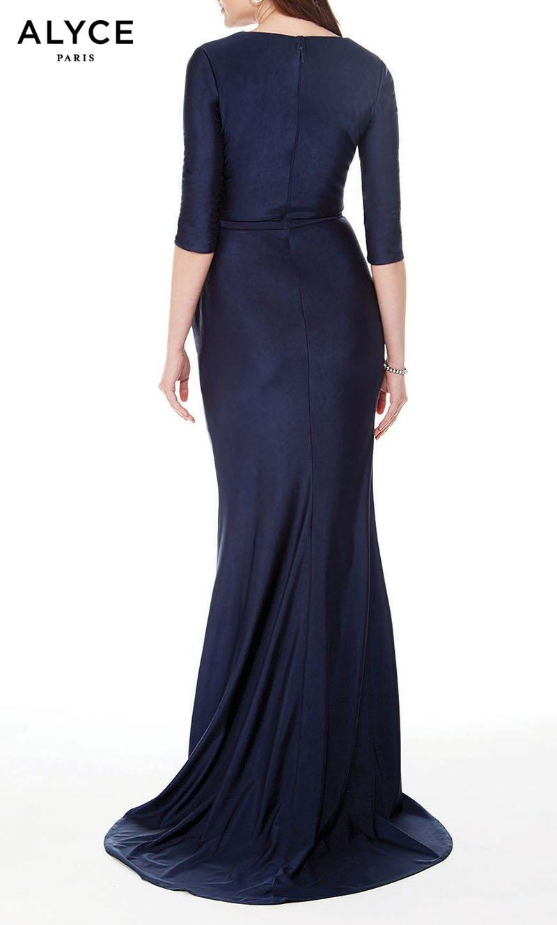 Formal Dress: 27015. Long, V-Neck, Straight, Enclosed Back