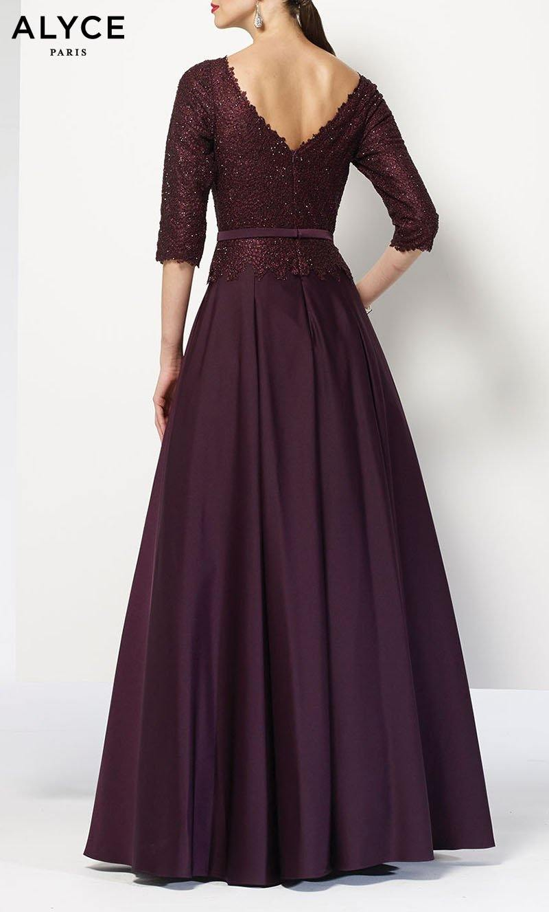 Aubergine long mother of the bride dress with sleeves and a lace top