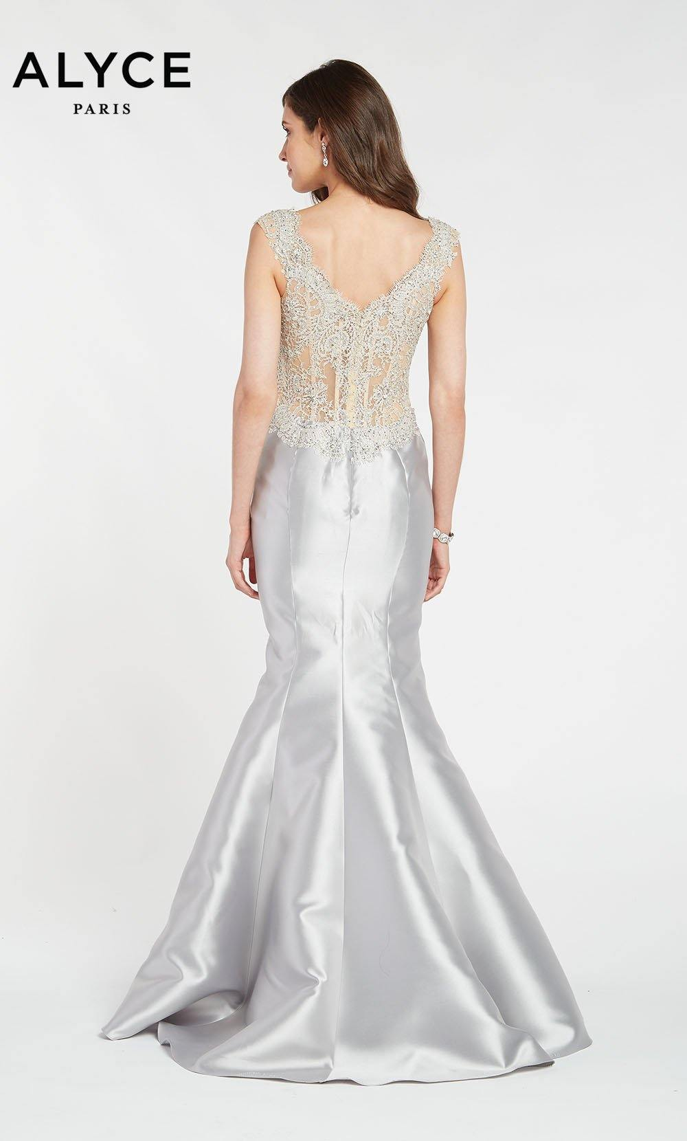 Alyce 27101 long trumpet style gown with a sheer embellished zip up back