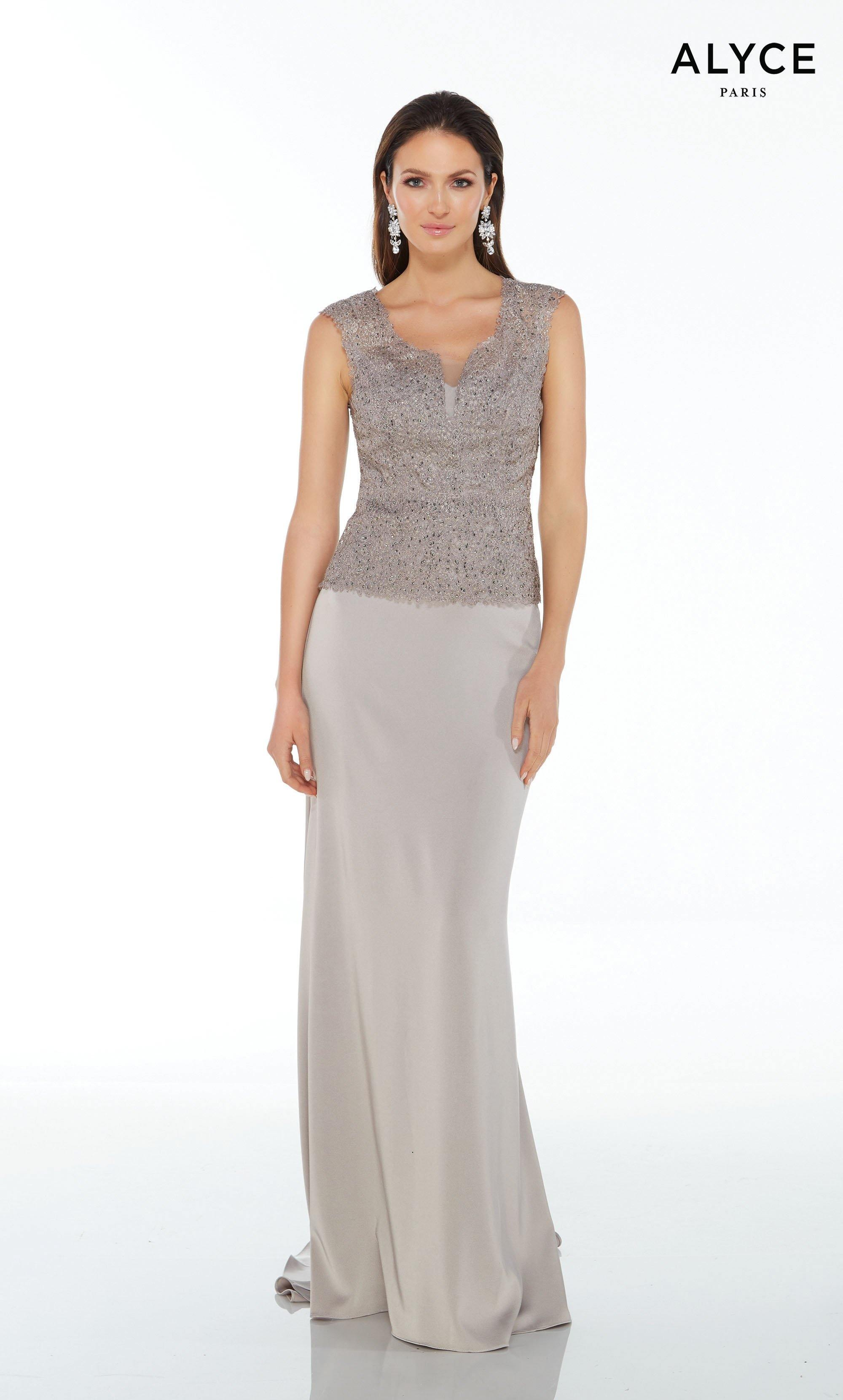 Silver stretch crepe strapless sexy guest of wedding dress