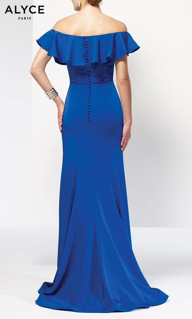 Ruffled long bodycon guest of wedding dress in Sapphire Blue