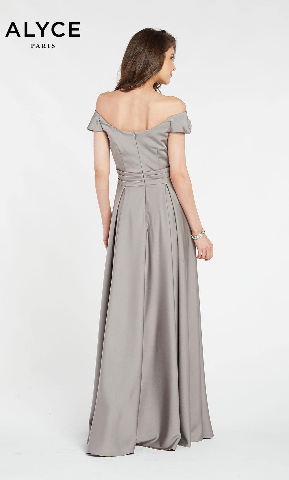 Alyce 27123 long gown with an off the shoulder zip up back