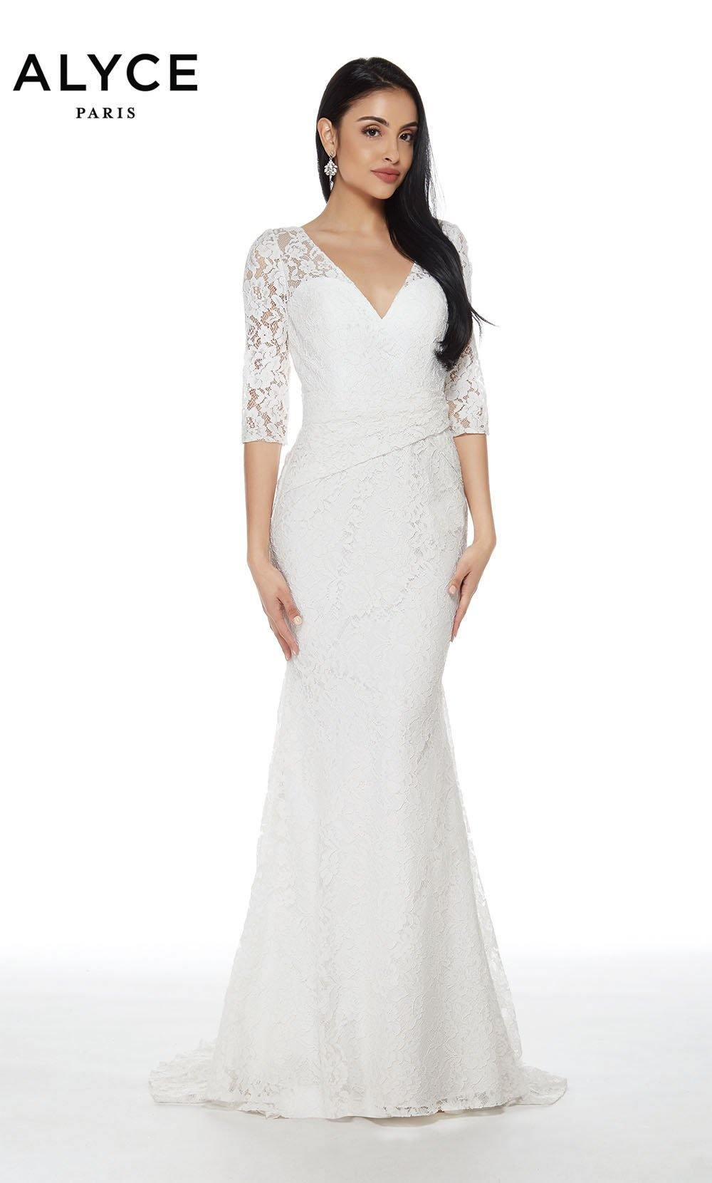 Alyce 27143 long laced gown with a 3/4 sleeve and v neckline