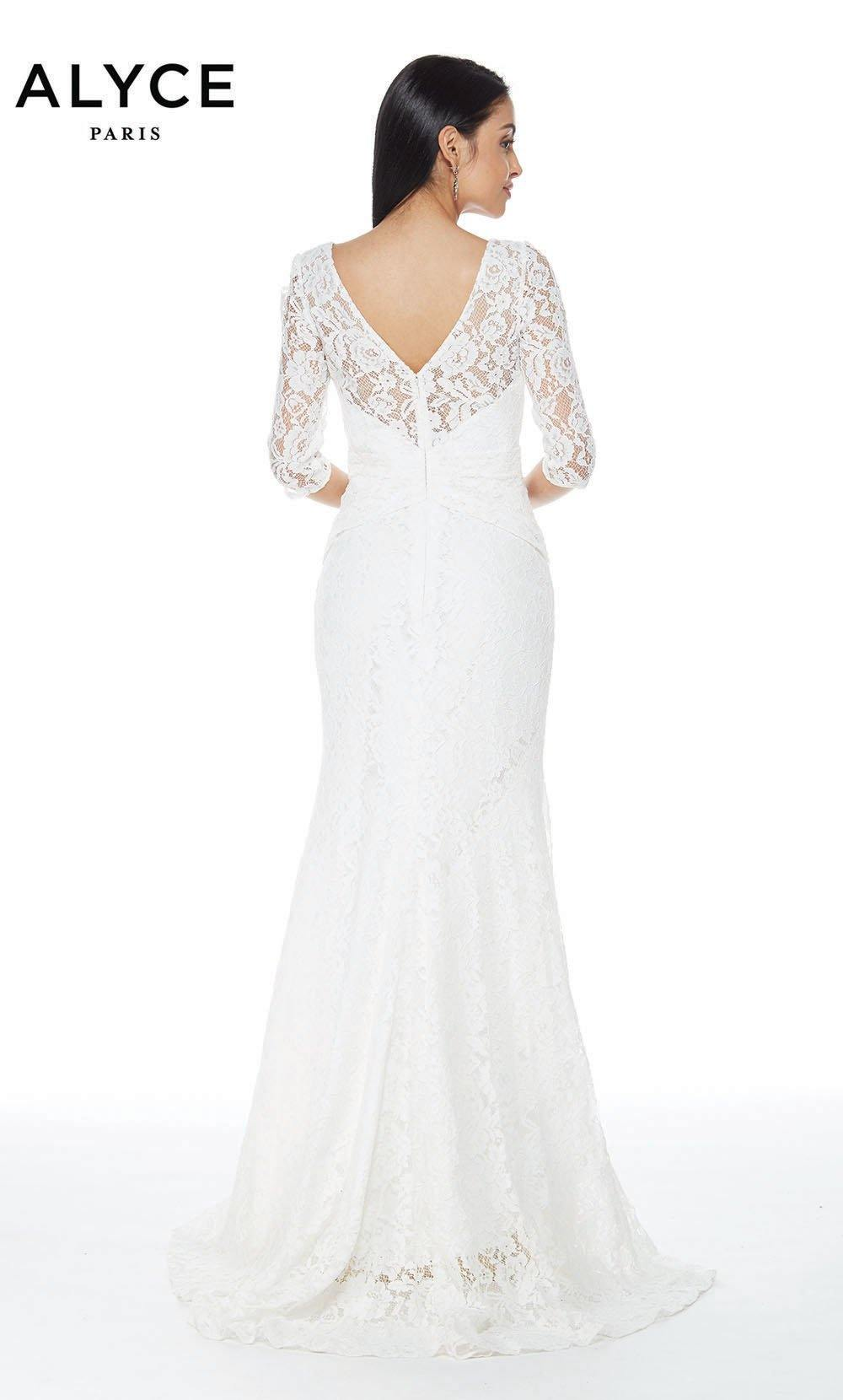 Alyce 27143 long lace gown with a zip up back