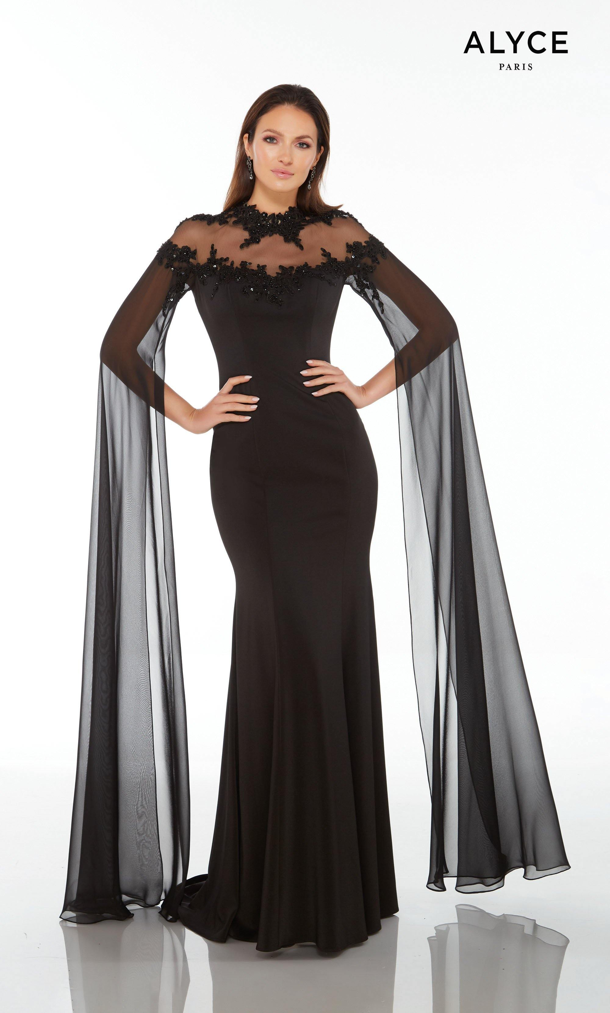 Black stretch crepe-chiffon formal dress with an off the shoulder illusion, beaded neckline and floor length flowy sleeves