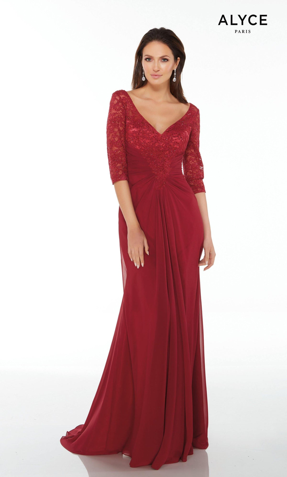 Long Wine mother of the groom dress with sleeves, a V-neckline, lace bodice, and gathered waistline