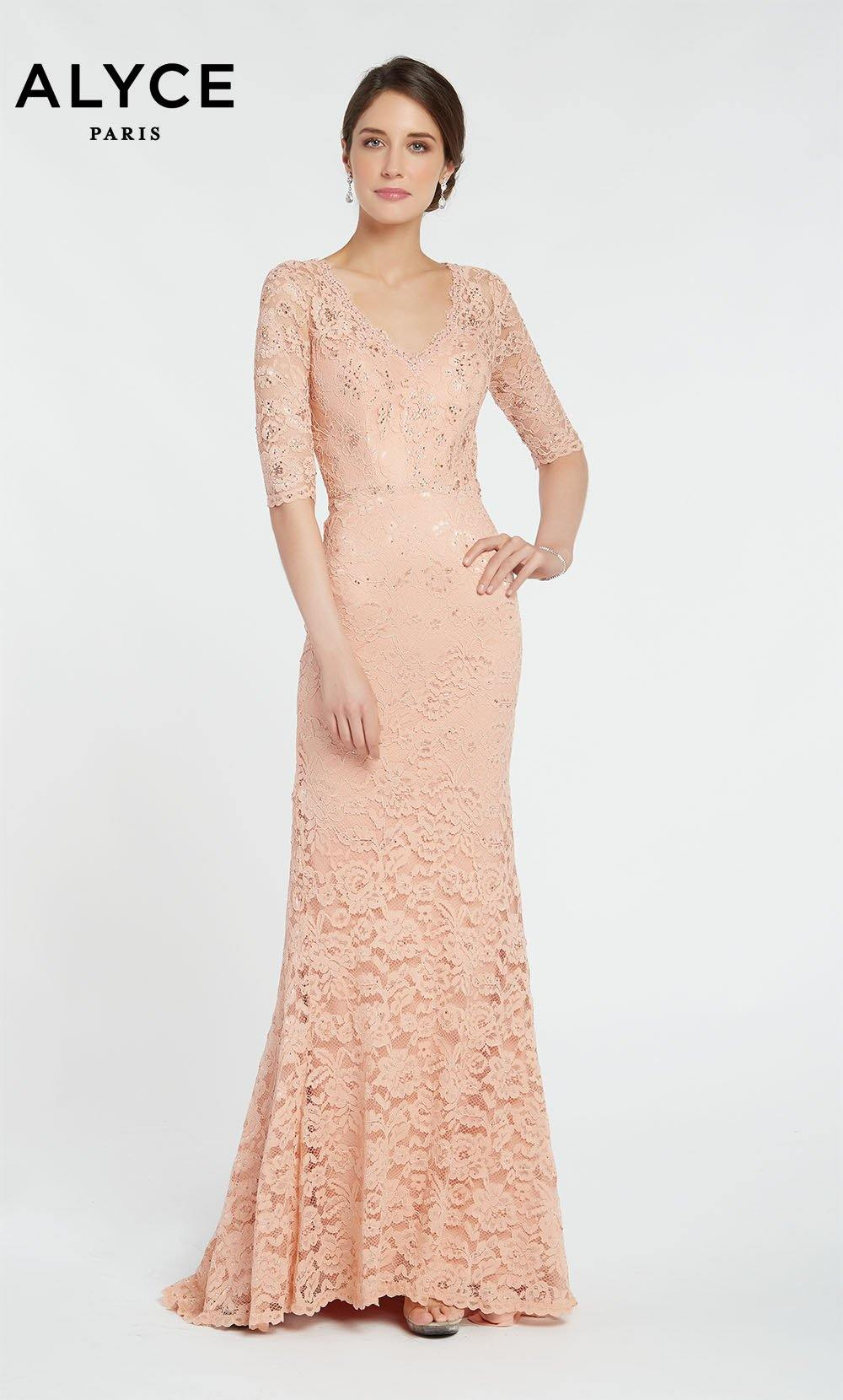 Long Rose lace guest of wedding dress with sleeves and a V-neckline