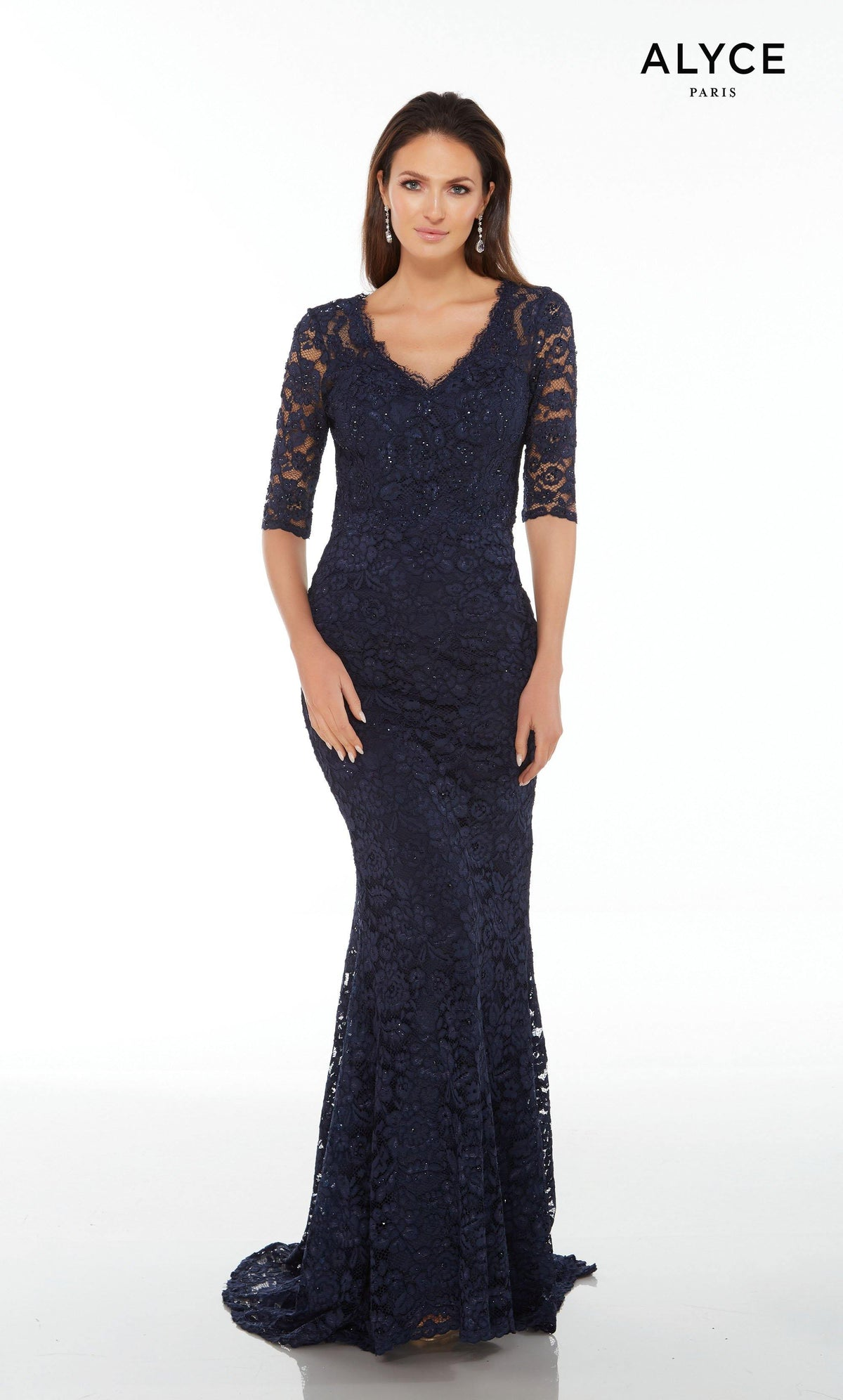 Long Midnight Blue lace guest of wedding dress with sleeves and a V-neckline