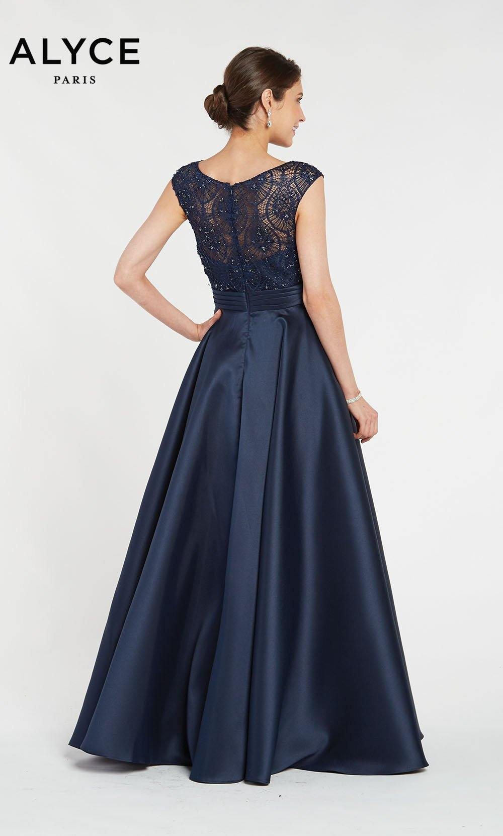 Alyce 27243 ballgown with a laced bodice, short capped sleeves and a boat neckline