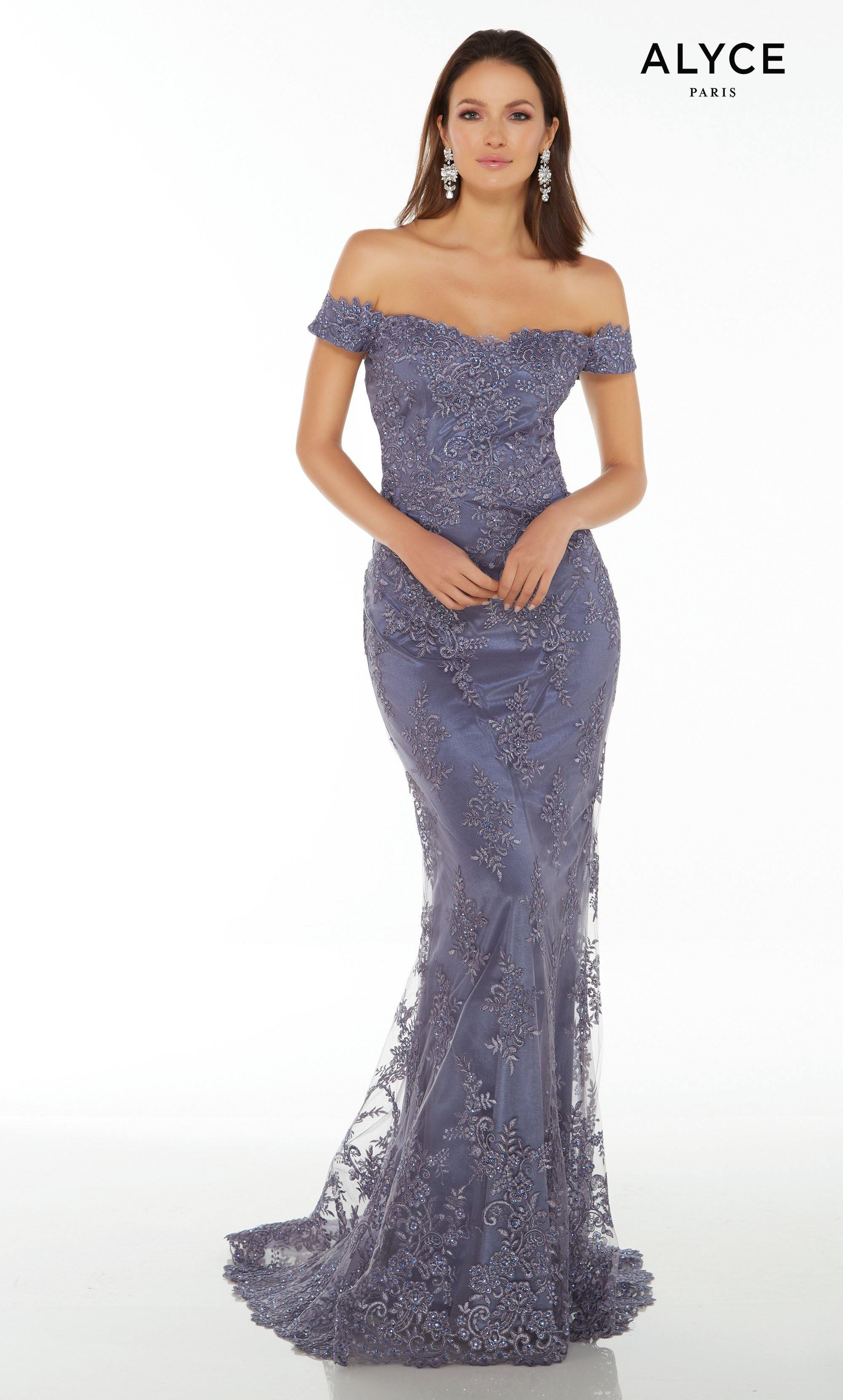 Lace off the shoulder sexy guest of wedding dress in Dusty Purple