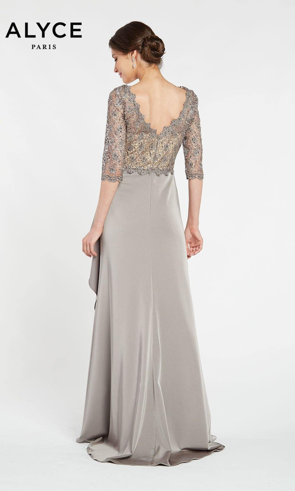 Stretch Crepe-Lace evening gown with sleeves and a waterfall skirt in Charcoal Grey