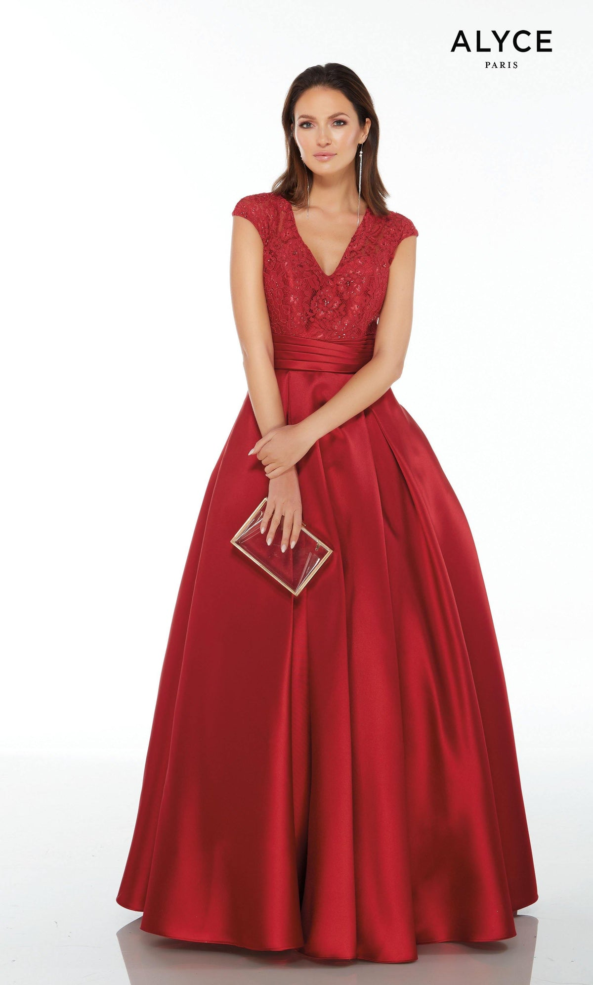 Red mikado formal ball gown with a V-neckline, lace bodice, and cap sleeves