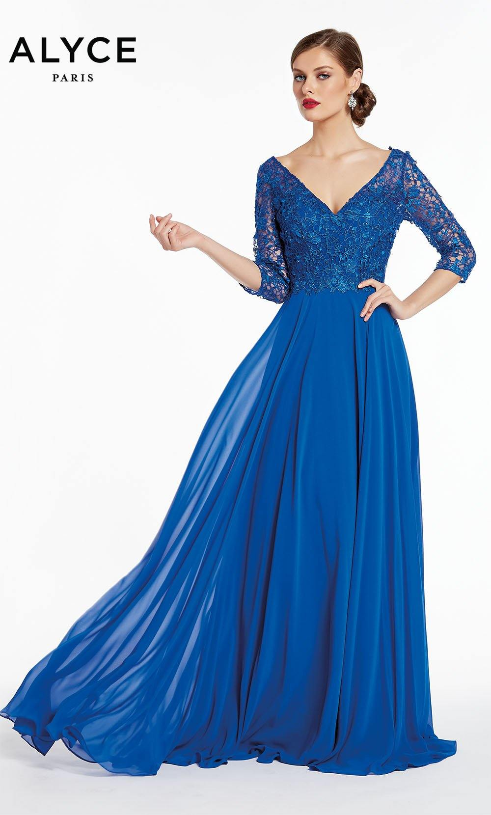 Formal Dress: 27312. Long, V-Neck, Flowy, V Shaped Back