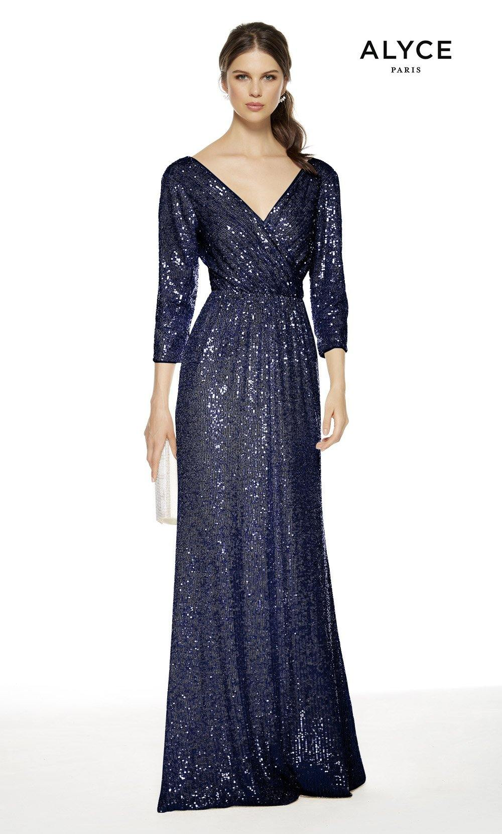 Navy colored sequin formal dress with a V-neckline and 3/4 sleeves