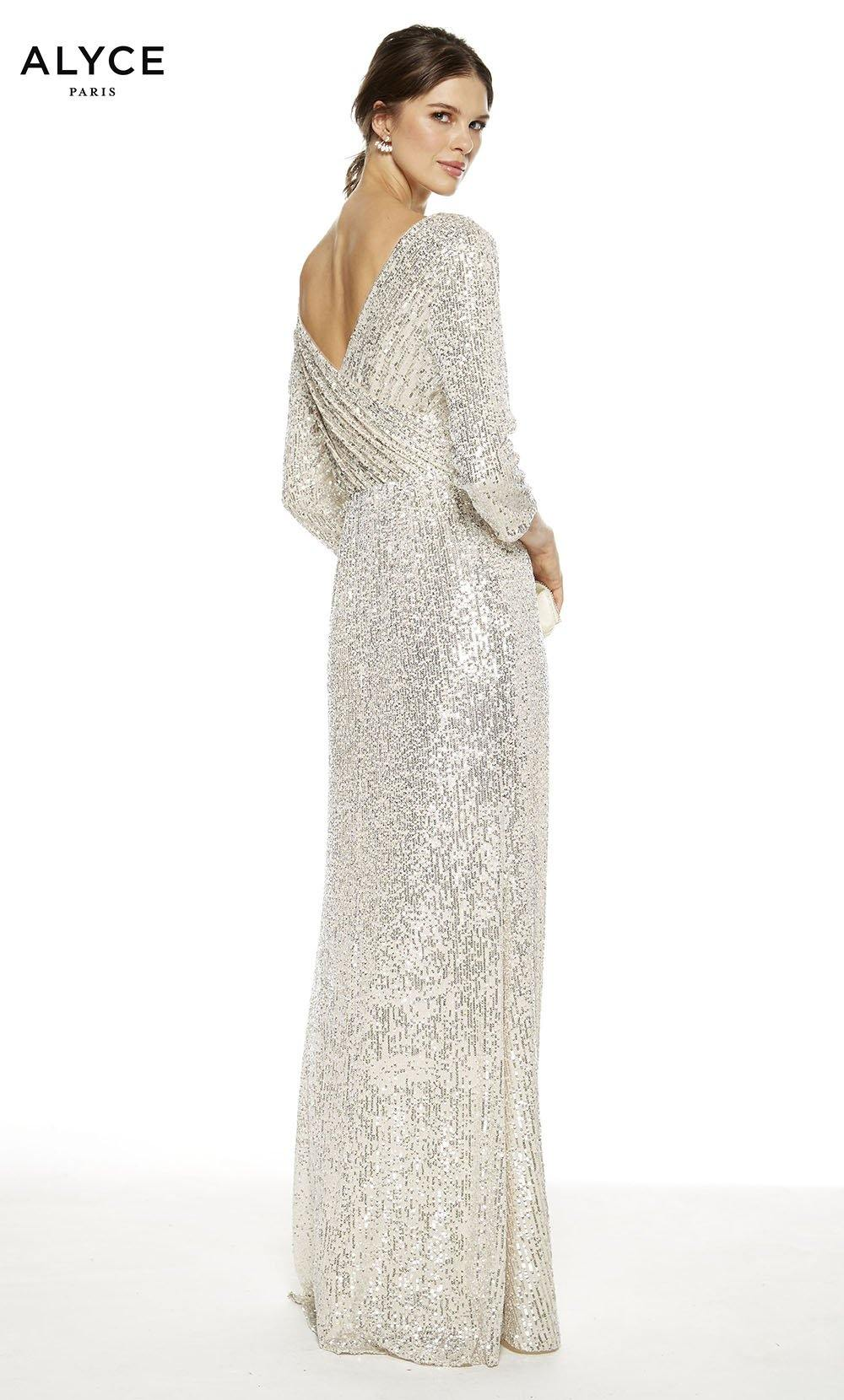 Sand colored sequin formal dress with a v-shaped back