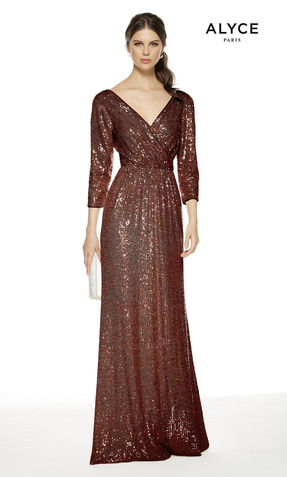 Wine colored sequin formal dress with a V-neckline and 3/4 sleeves