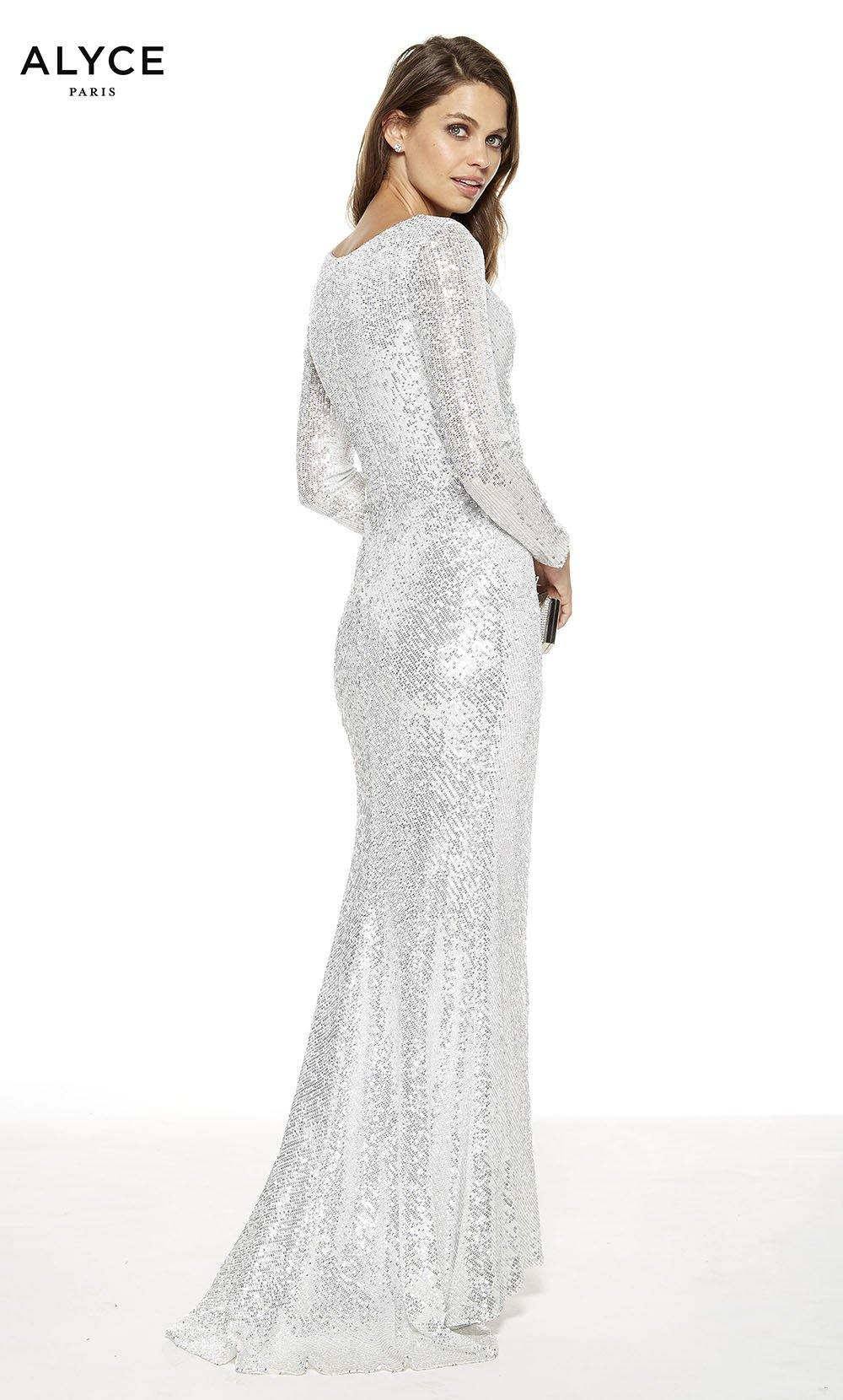 Silver sequin red-carpet dress with a v- neckline, slit and long sleeves