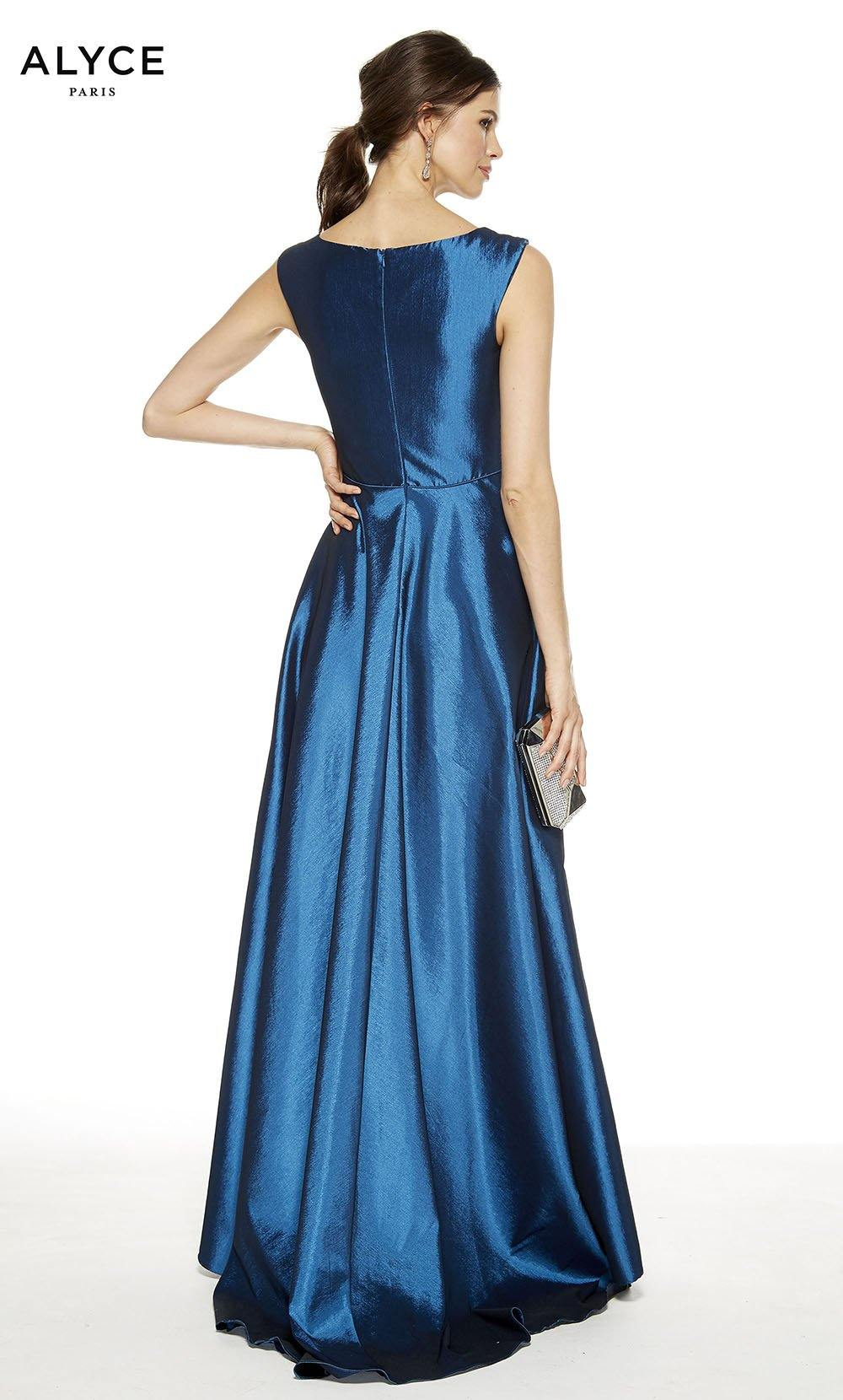 Blue Coral high-low formal dress with an enclosed back