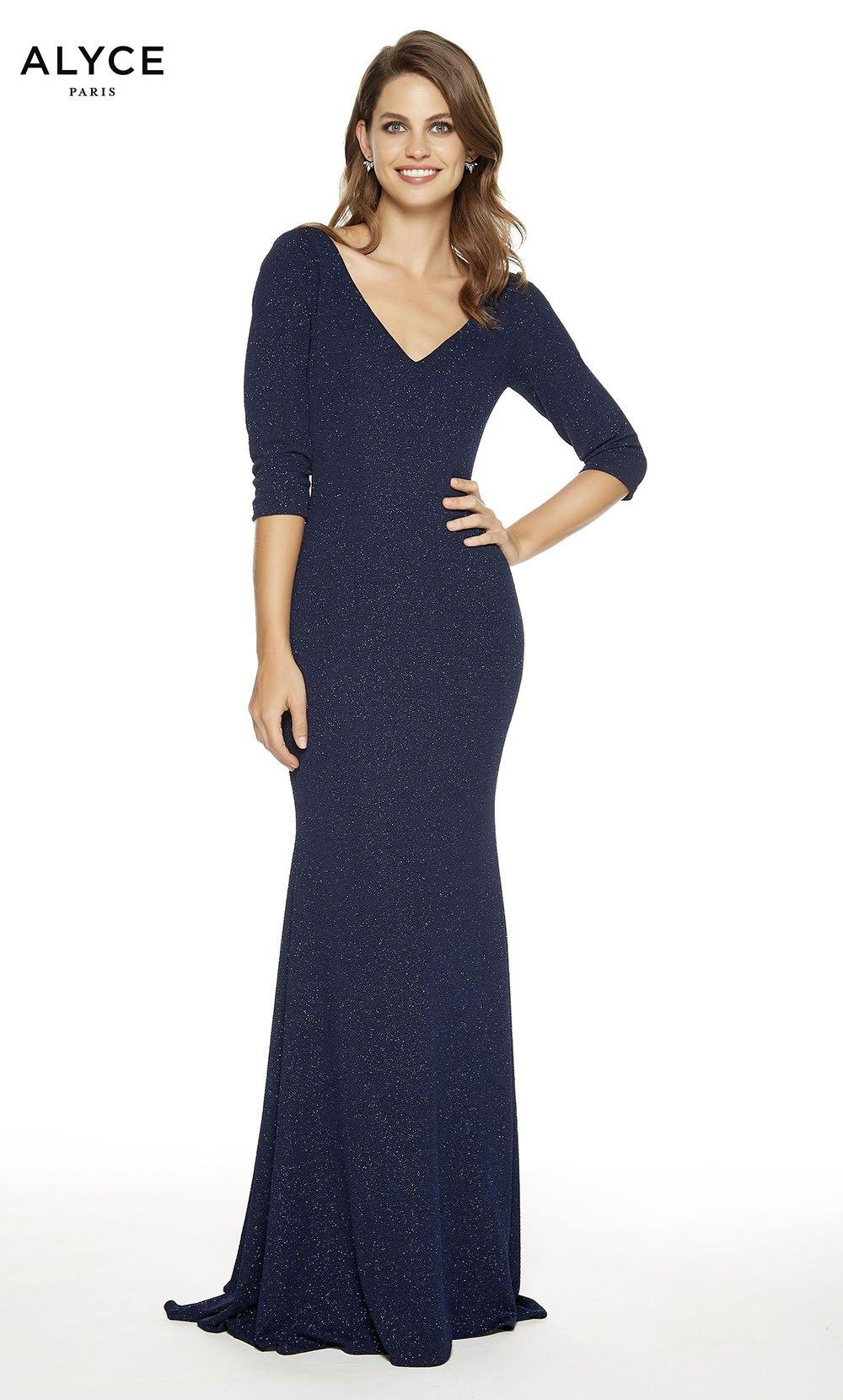 Midnight formal dress with a V-neckline and 3/4 sleeves