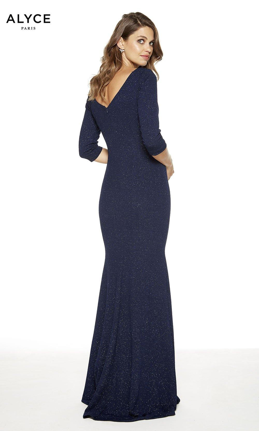 Midnight formal dress with a v-shaped back and 3/4 sleeves