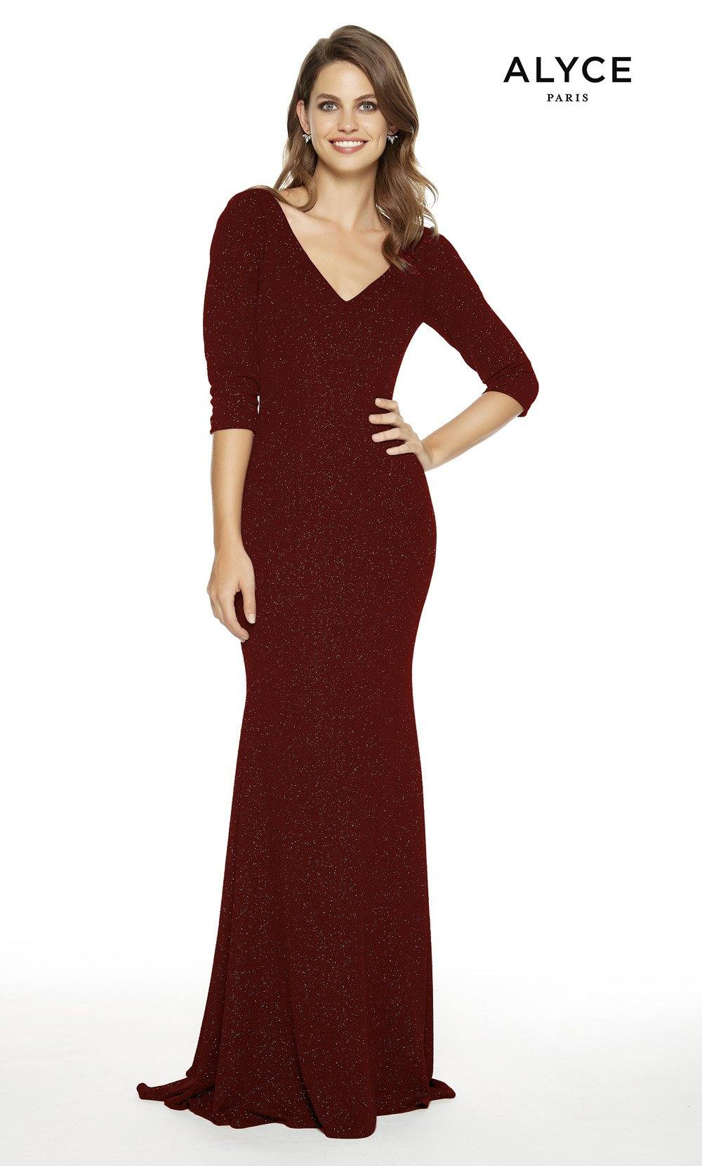 Wine formal dress with a V-neckline and 3/4 sleeves