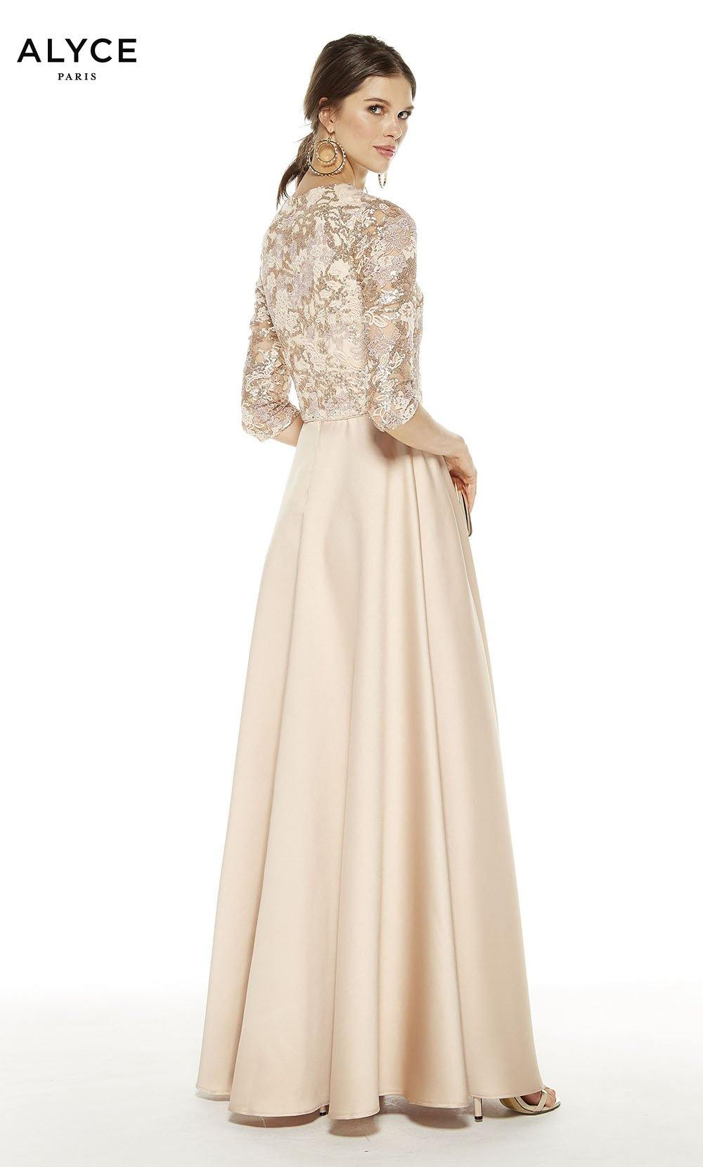 Latte colored formal gown with a V-neckline and 3/4 sleeves