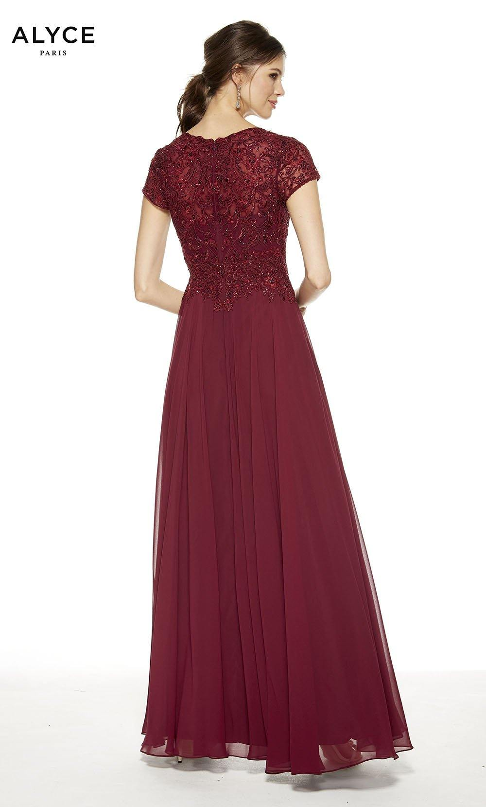 Burgundy flowy wedding guest dress with an enclosed back