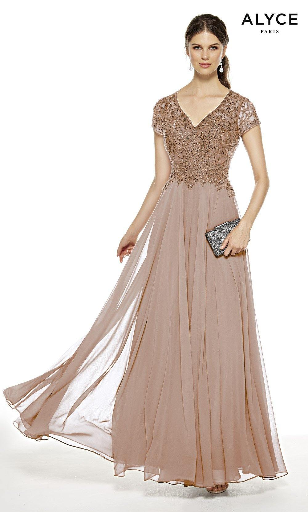 Cashmere Rose flowy wedding guest dress with a V-neck and short sleeves