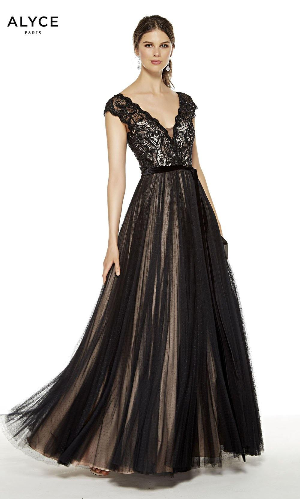 Black-Rosewater formal dress with a V-neck and capped sleeves