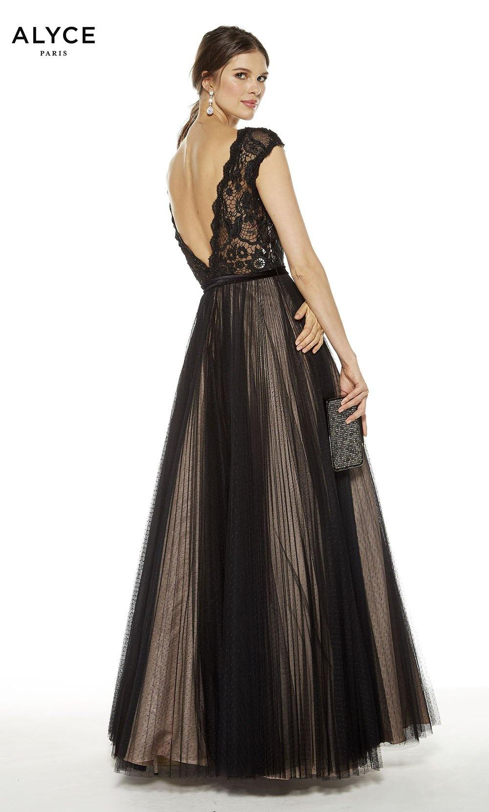 Black-Rosewater formal dress with a v-shaped back
