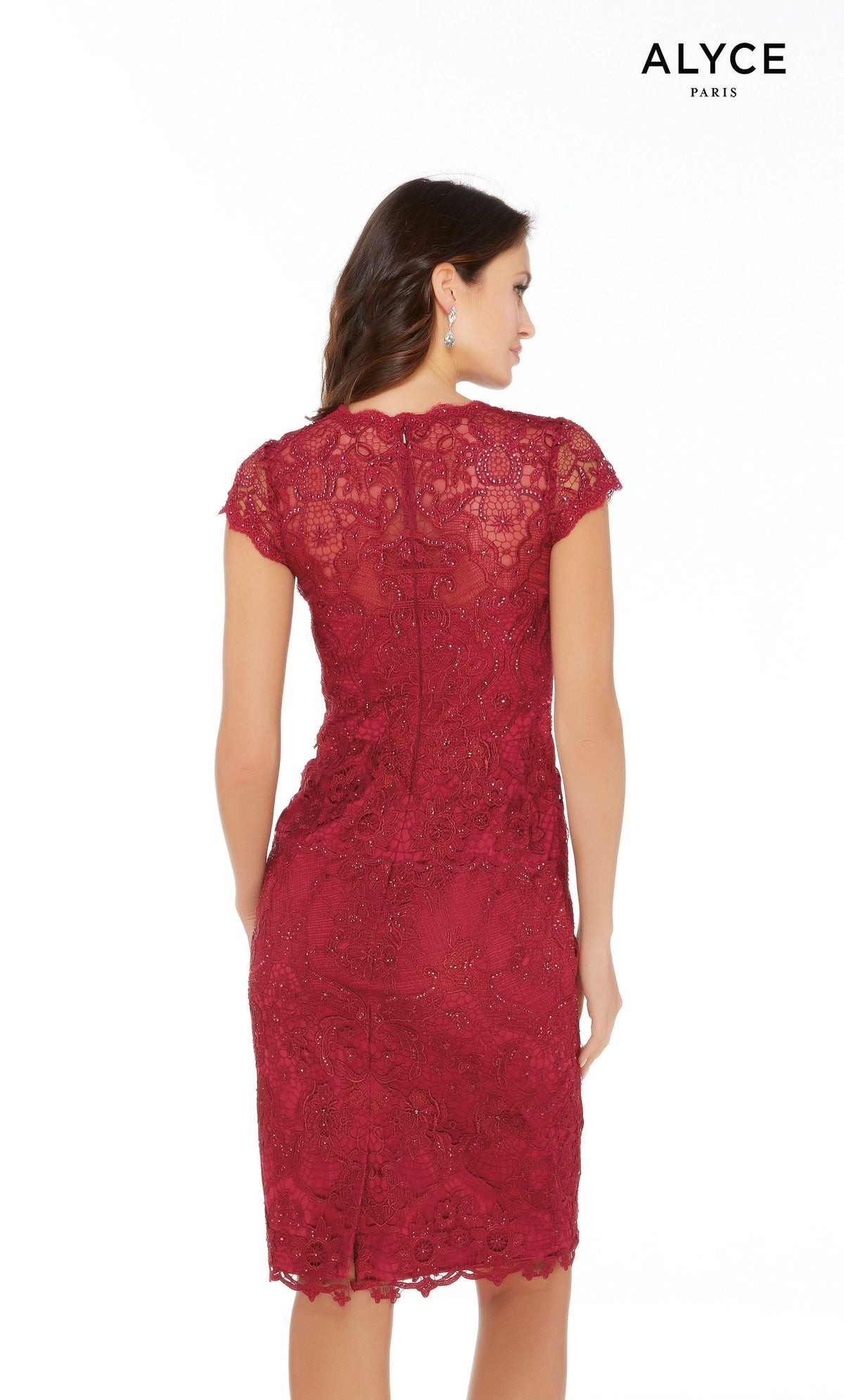 Dark red lace knee length designer mother of the bride dress with an enclosed back and cap sleeves