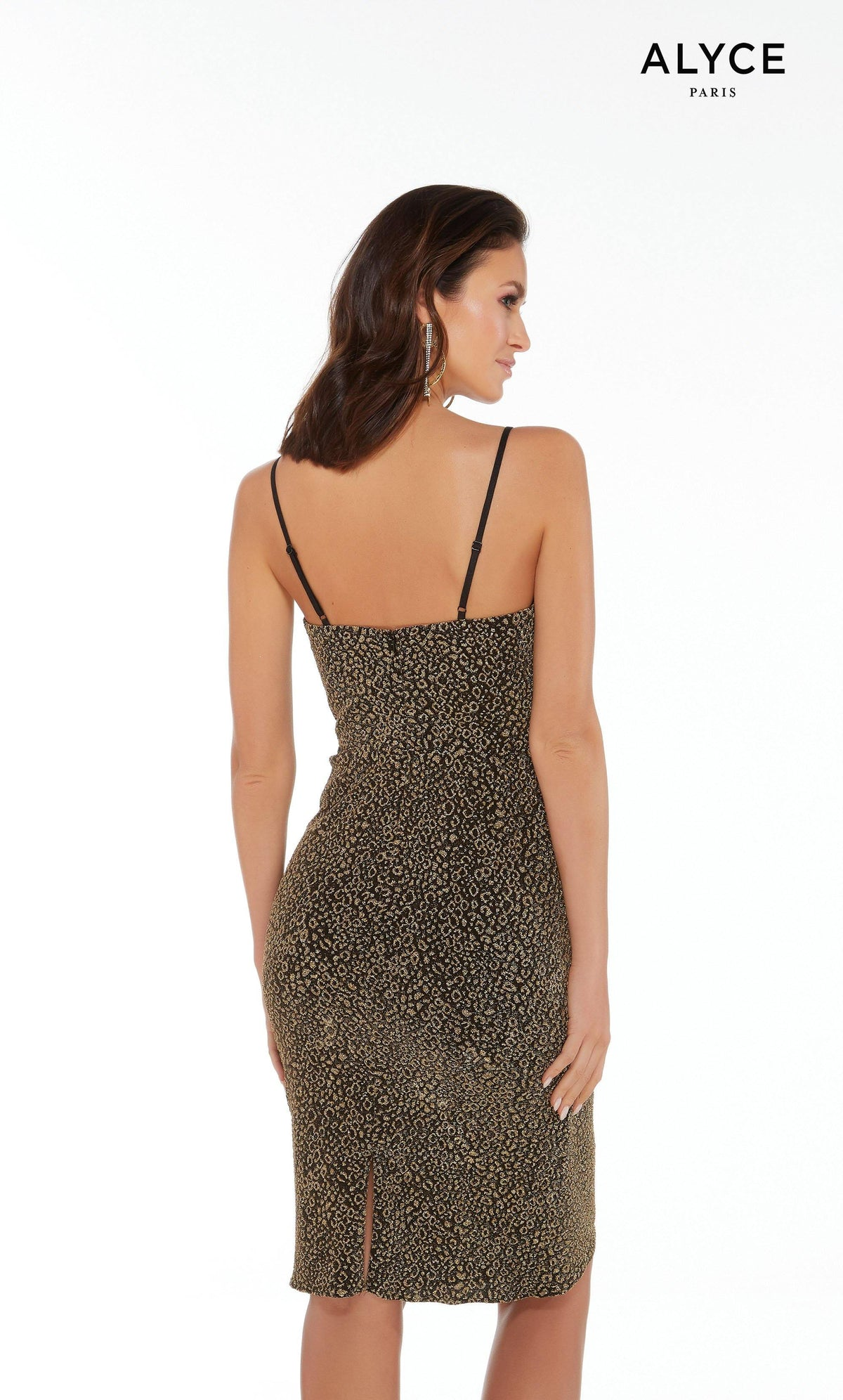 Black and Gold cheetah print cocktail dress with an enclosed back and a slit