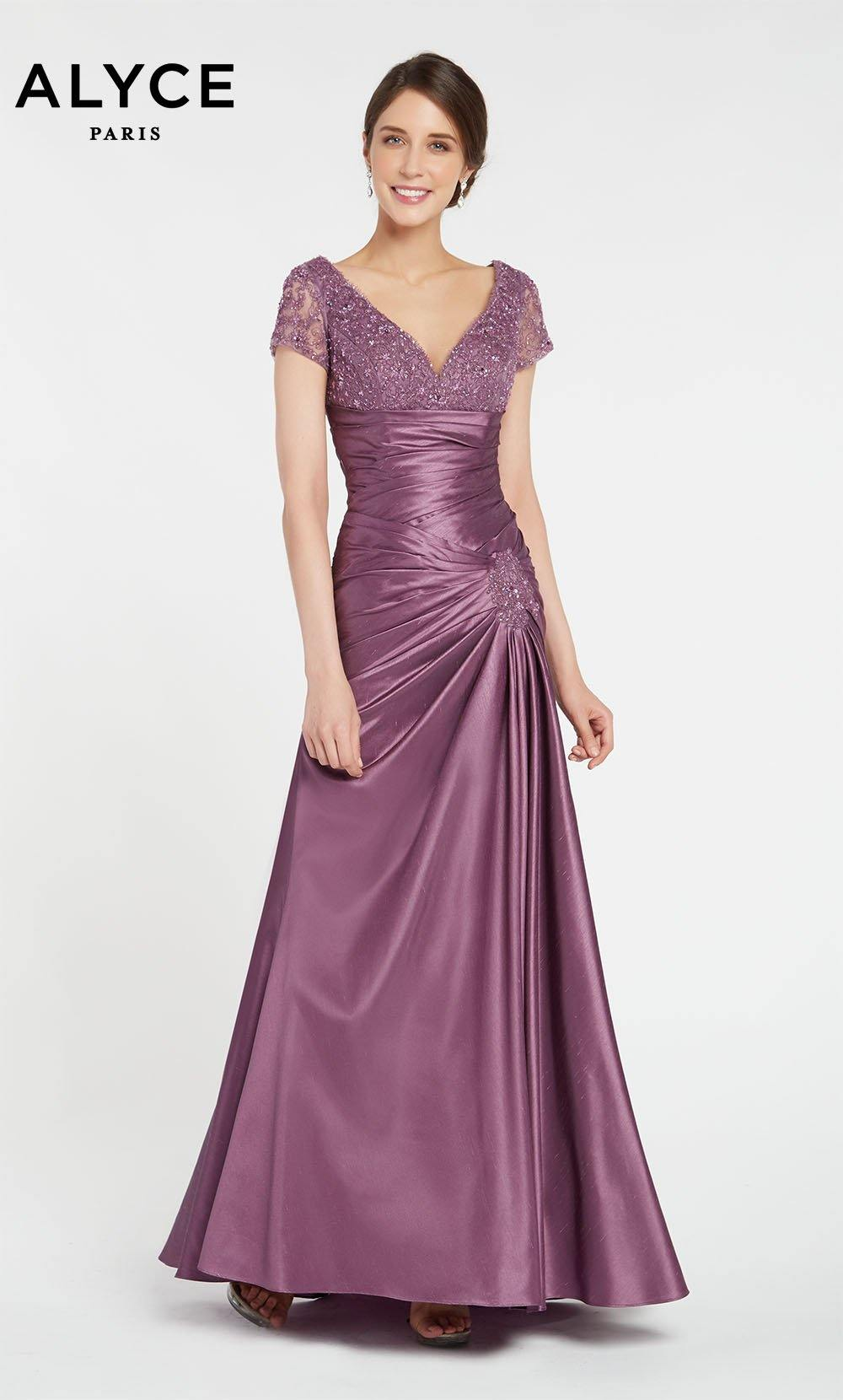 Long Purple iridescent pleated formal dress with a V-neckline and short sleeves